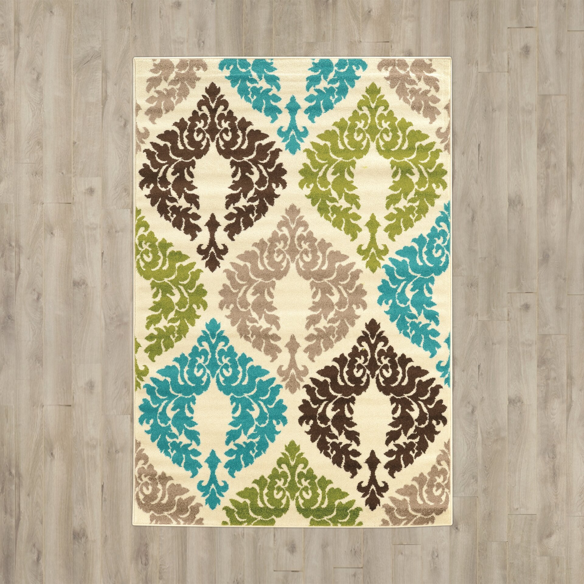 Klong Damask Turquoise/Cream Area Rug