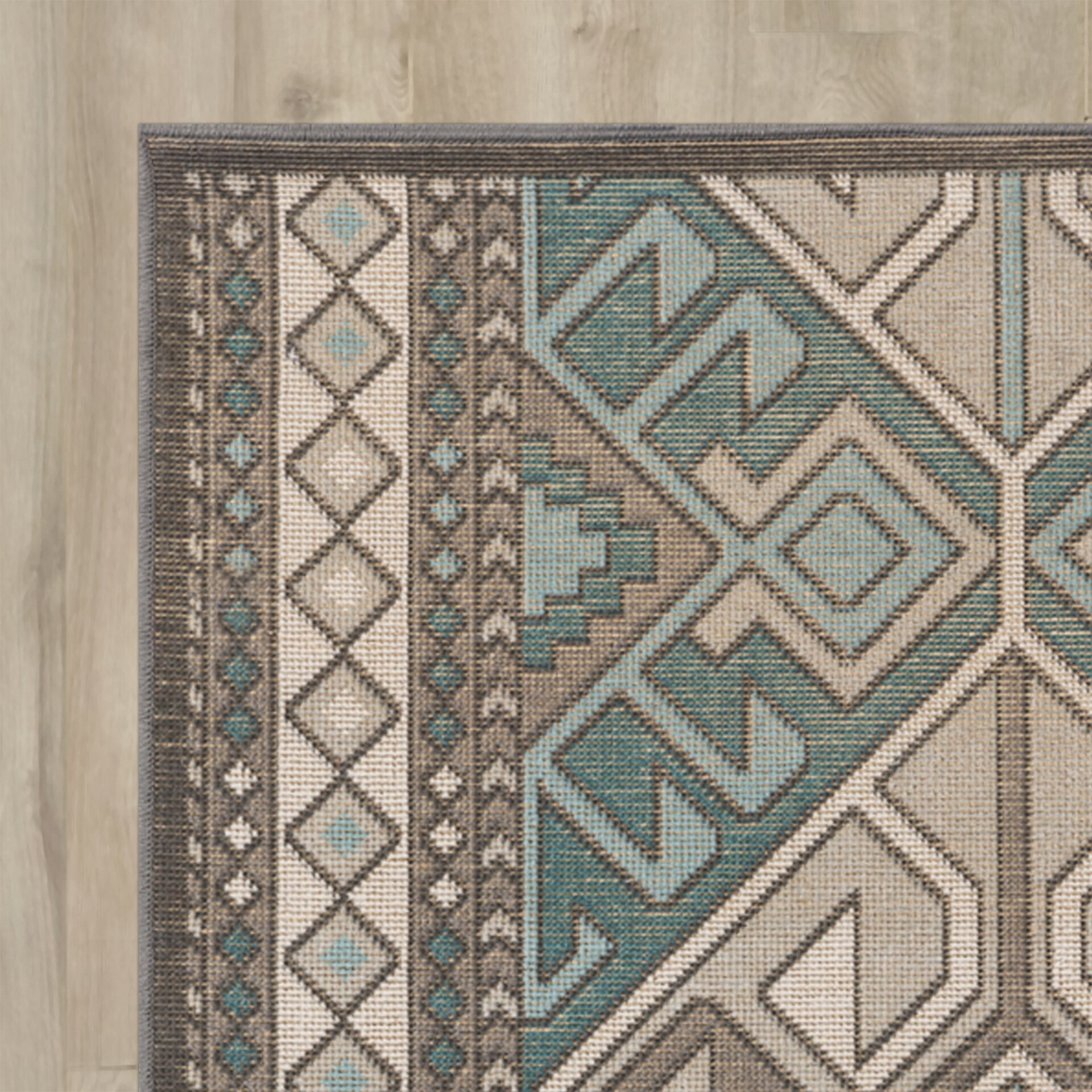 Septfontaines Teal/Brown Area Rug