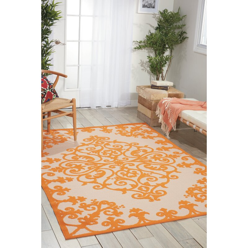 agna Orange Indoor Outdoor Area Rug