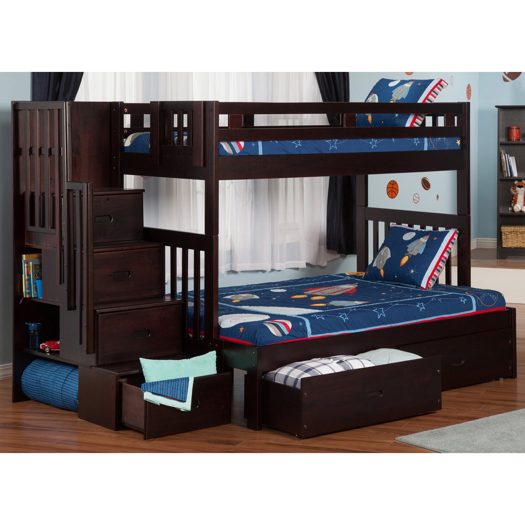 Twin over Full Bunk Bed with Staircase and Storage by Viv + Rae