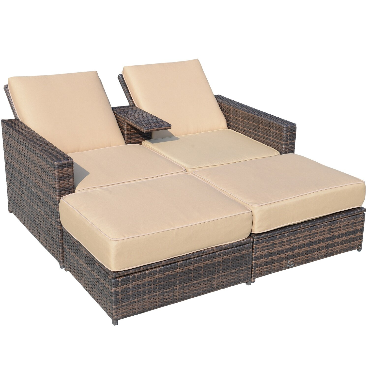 4 piece double chaise lounge with cushion wayfair. Black Bedroom Furniture Sets. Home Design Ideas