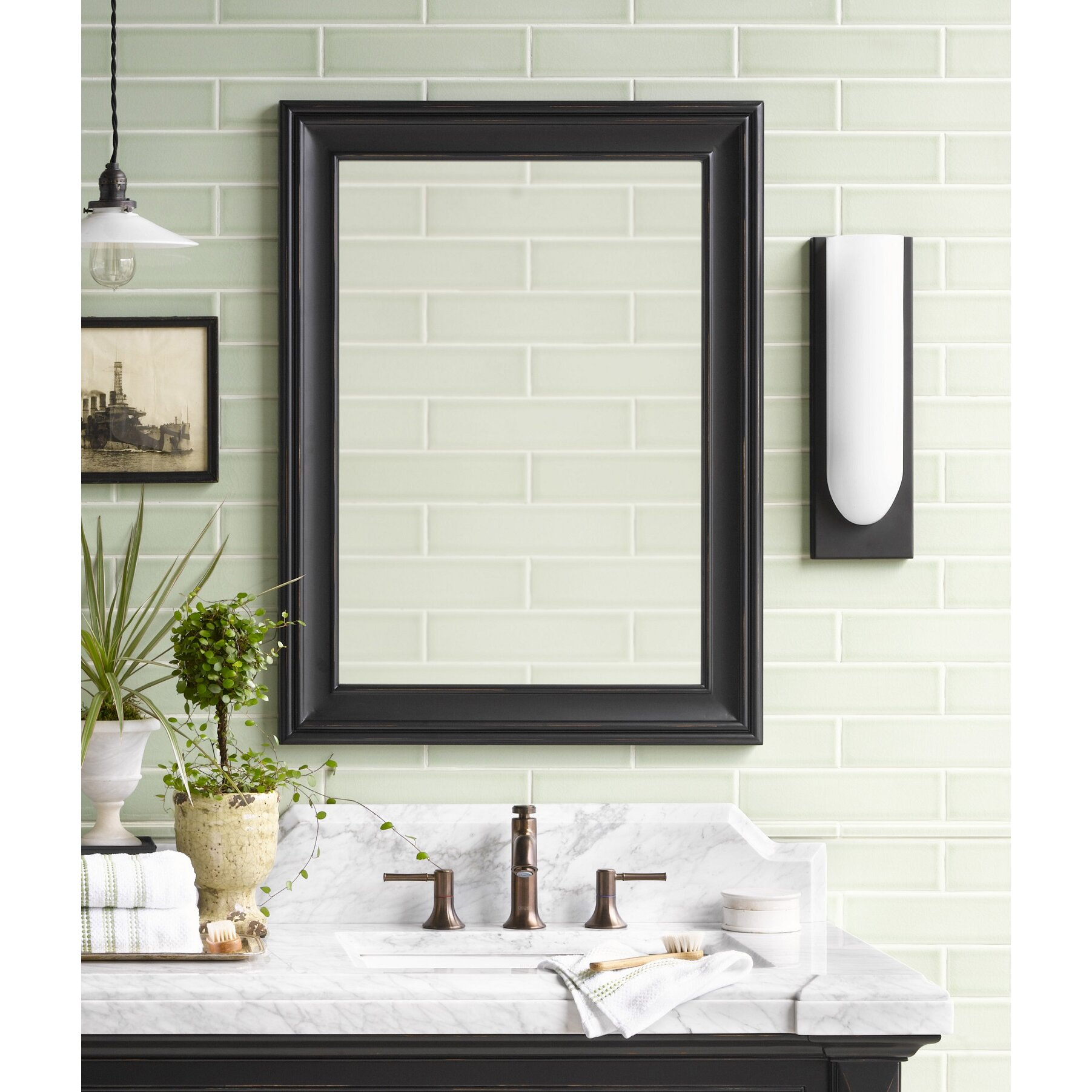 Traditional 24 X 32 Solid Wood Framed Bathroom Mirror In Antique Black Wayfair