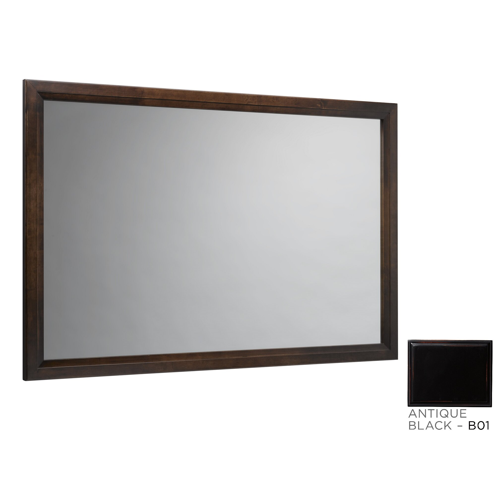 Transitional 60 Solid Wood Framed Bathroom Mirror In Antique Black Wayfair