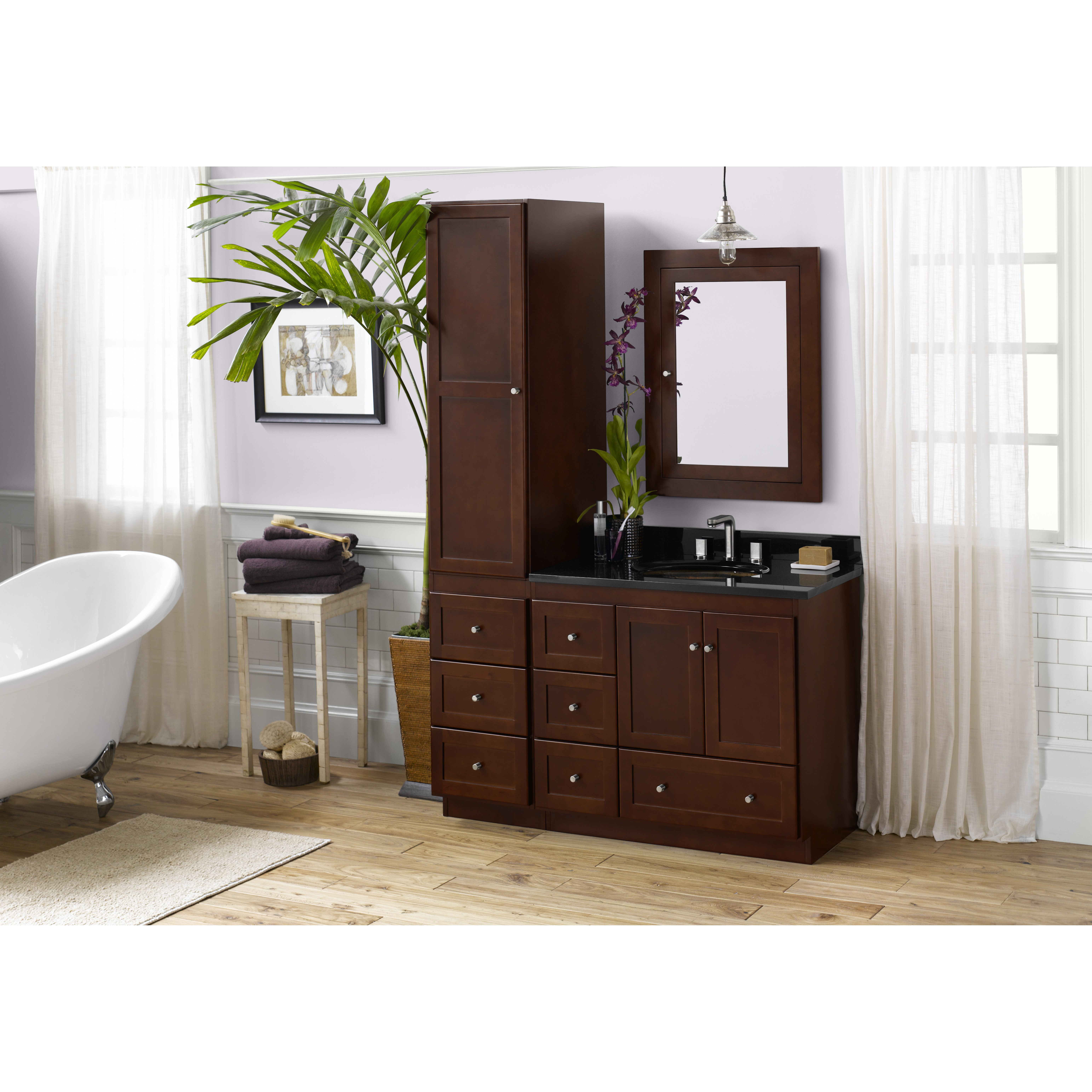 Shaker 36 bathroom vanity cabinet base in dark cherry wood doors on left wayfair - Bathroom vanity cabinet base only ...