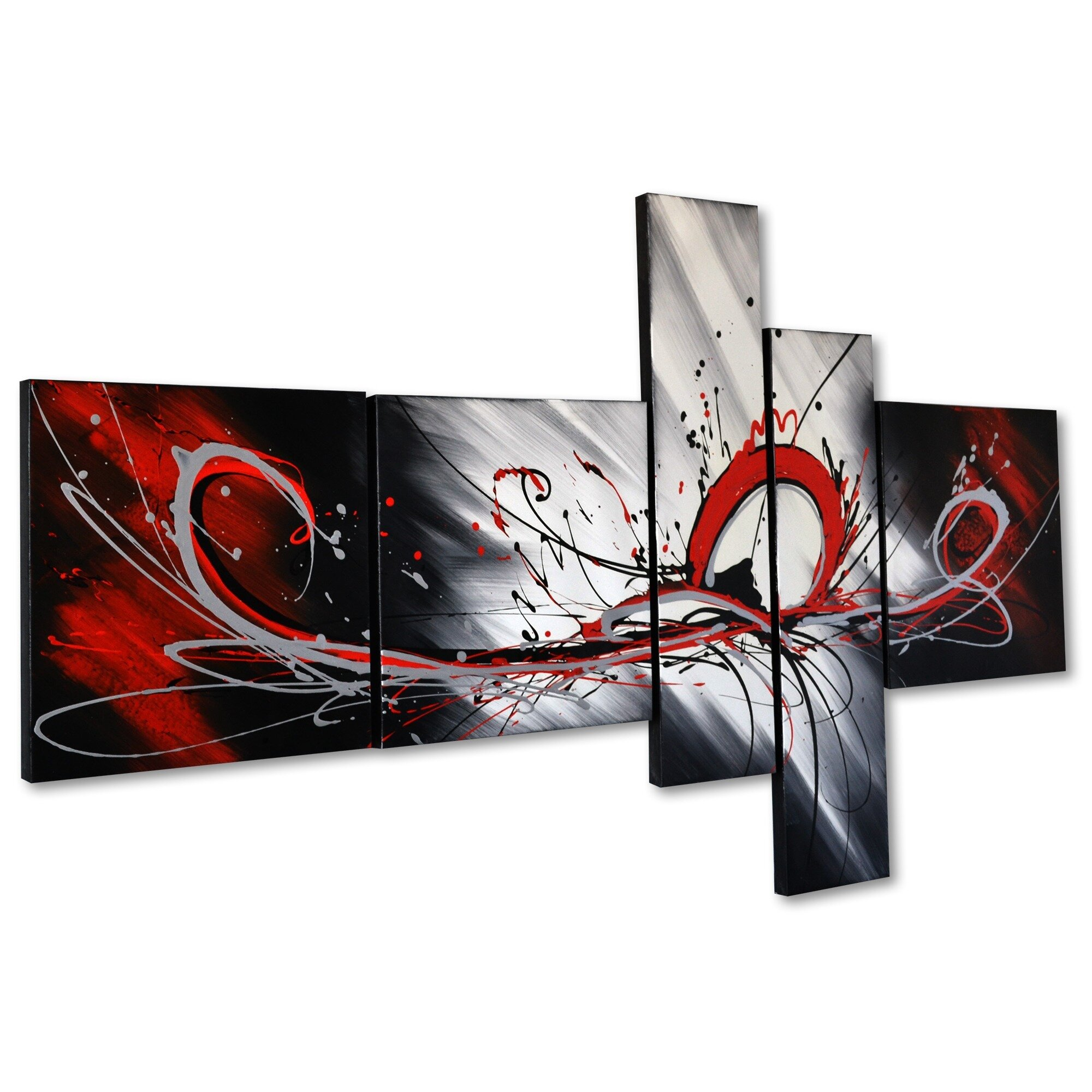 Splash abstract 5 piece original painting on canvas set for Decoration murale one piece