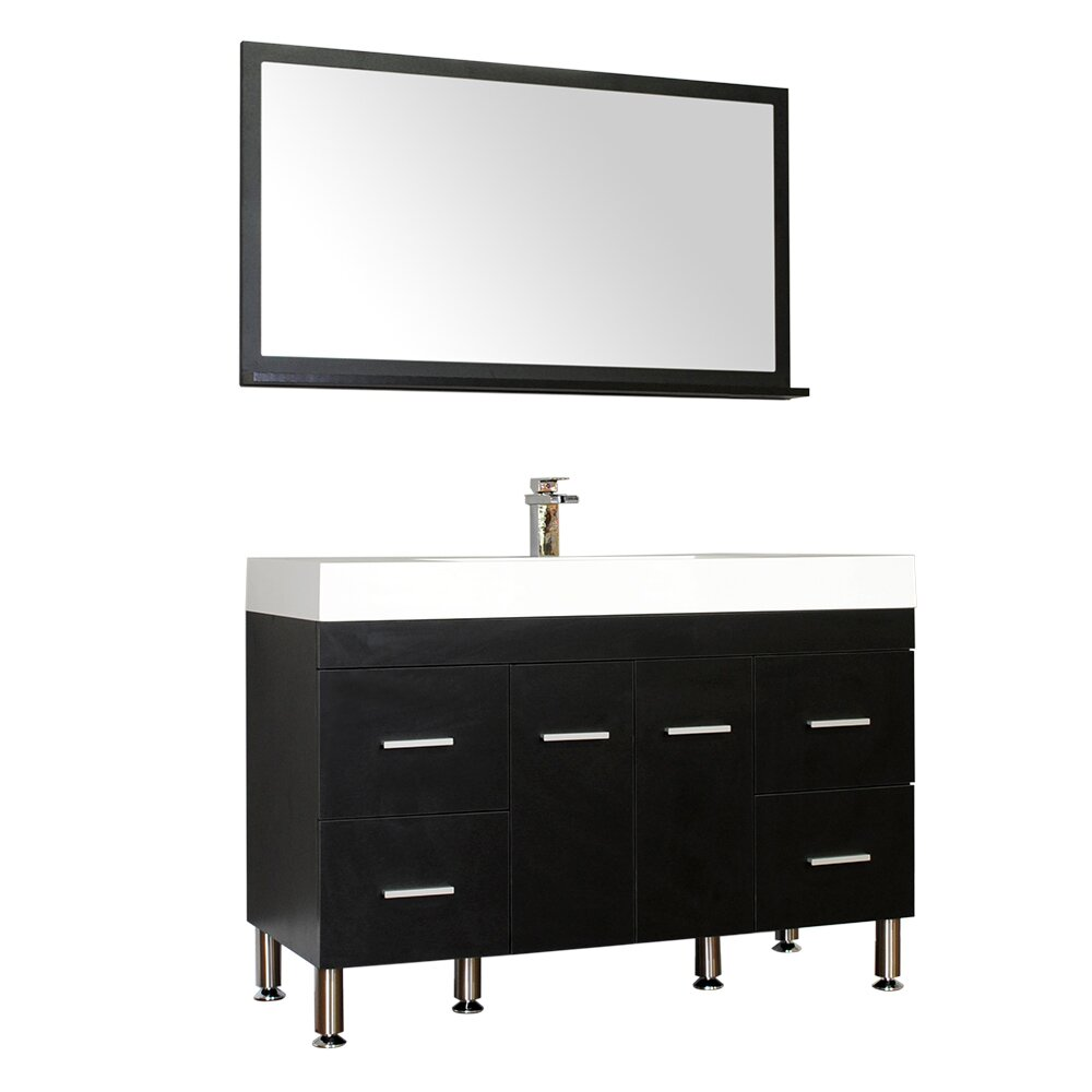 "Ripley 47"" Single Modern Bathroom Vanity Set with Mirror"