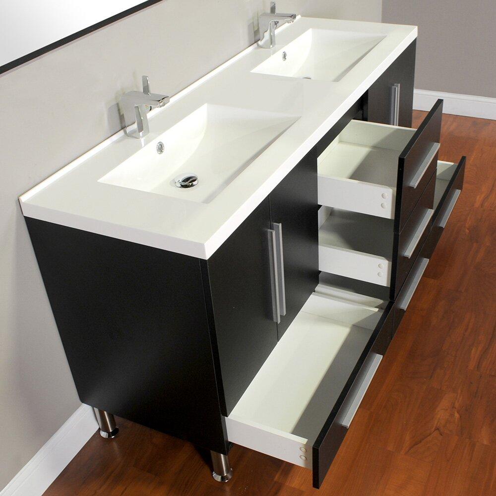 "Black Bathroom Vanity Set: Alya Bath Ripley 67"" Double Modern Bathroom Vanity Set"