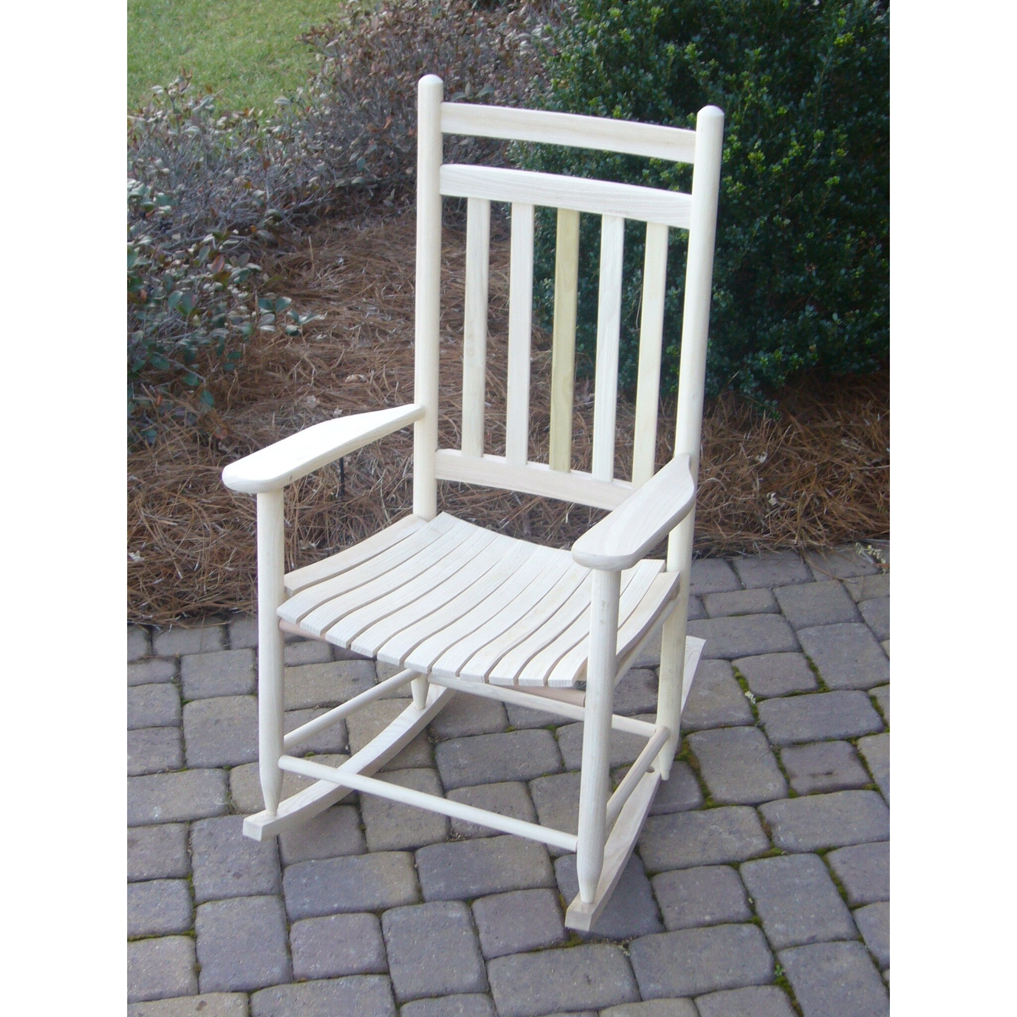 ... Company 3 Piece Adult Slat Seat Porch Rocking Chair and Table Set