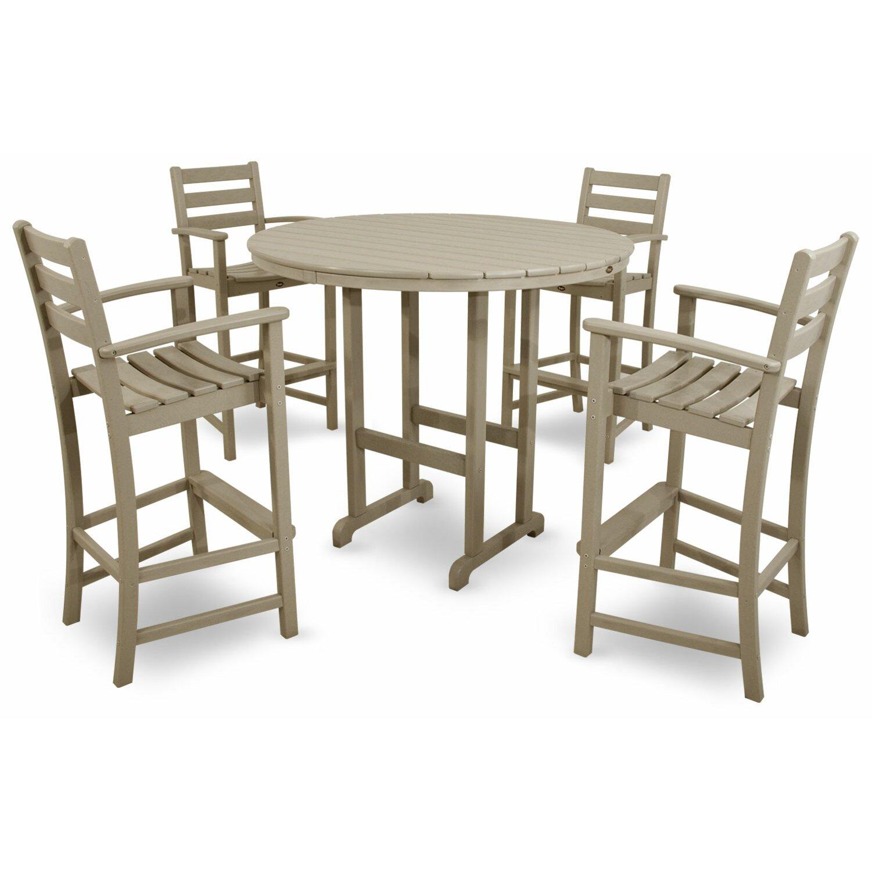 ... Bay Promfret Outdoor 5 Piece Bar Height Dining Set & Reviews Wayfair