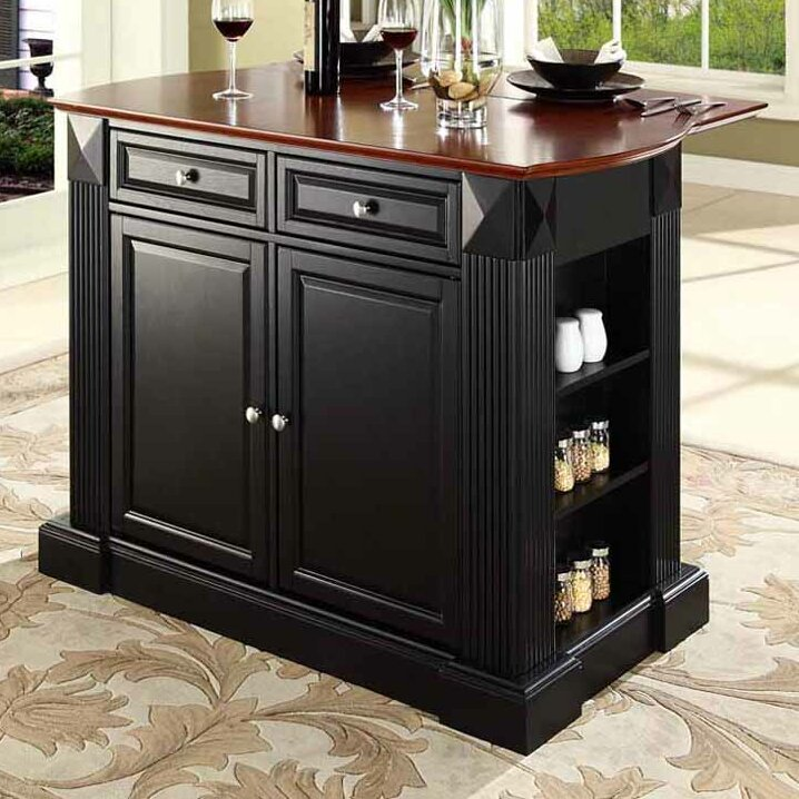 kitchen island with drop leaf breakfast bar plumeria drop leaf breakfast bar top kitchen island wayfair 27871