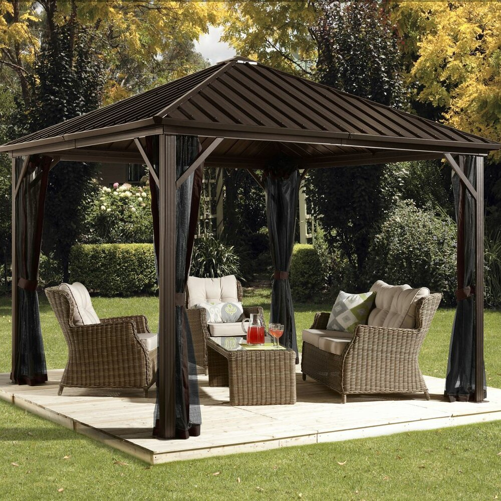 Dakota 10 ft w x 10 ft gazebo wayfair for Pergola aluminum x