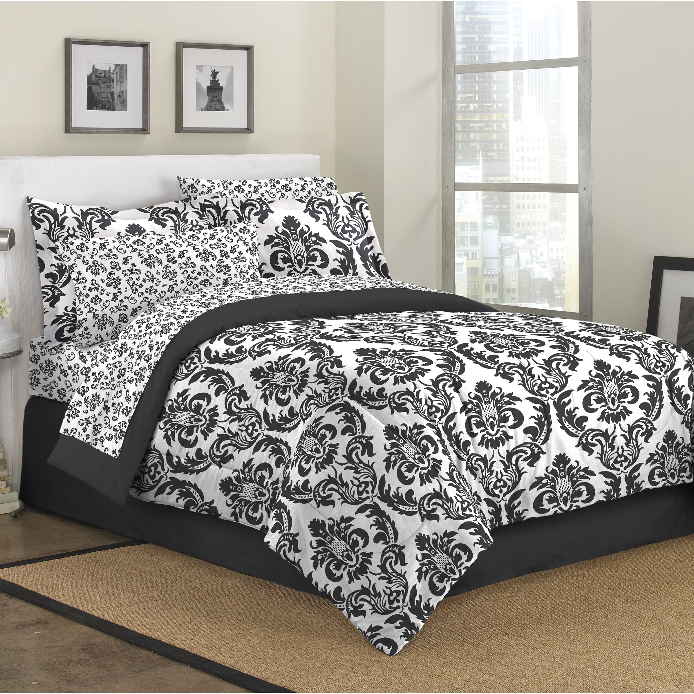 First At Home Marcheline Damask 8 Piece Bed In A Bag Set