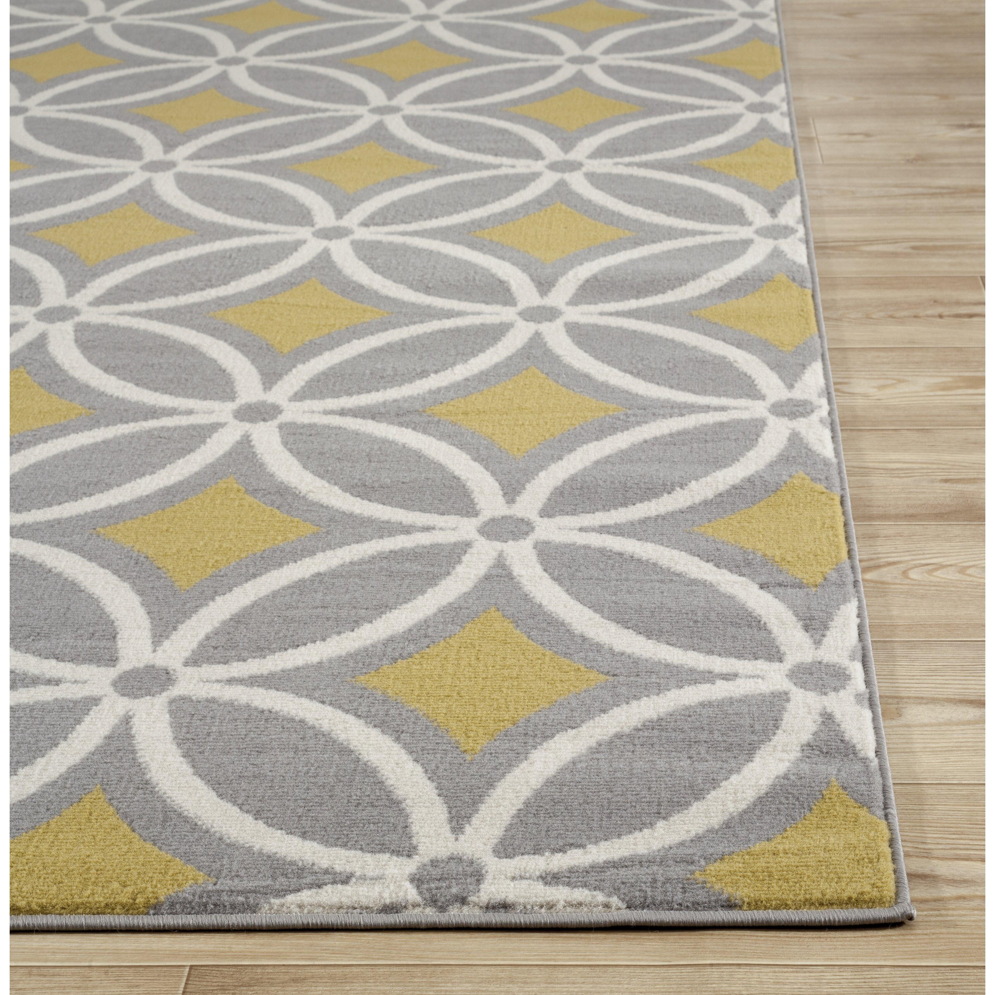 newport gray yellow area rug wayfair. Black Bedroom Furniture Sets. Home Design Ideas