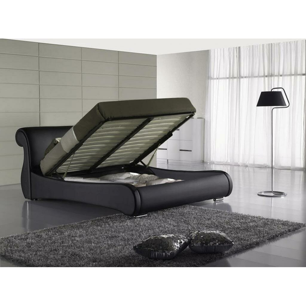 king upholstered storage platform bed wayfair. Black Bedroom Furniture Sets. Home Design Ideas