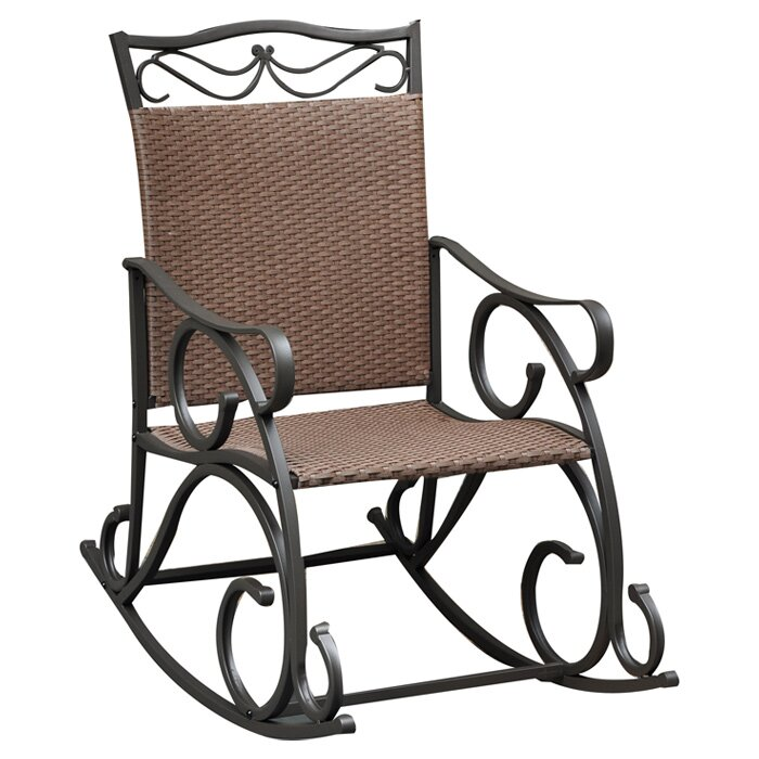 Rosalind Wheeler Dockett Wicker Resin & Steel Patio Rocking Chair & R