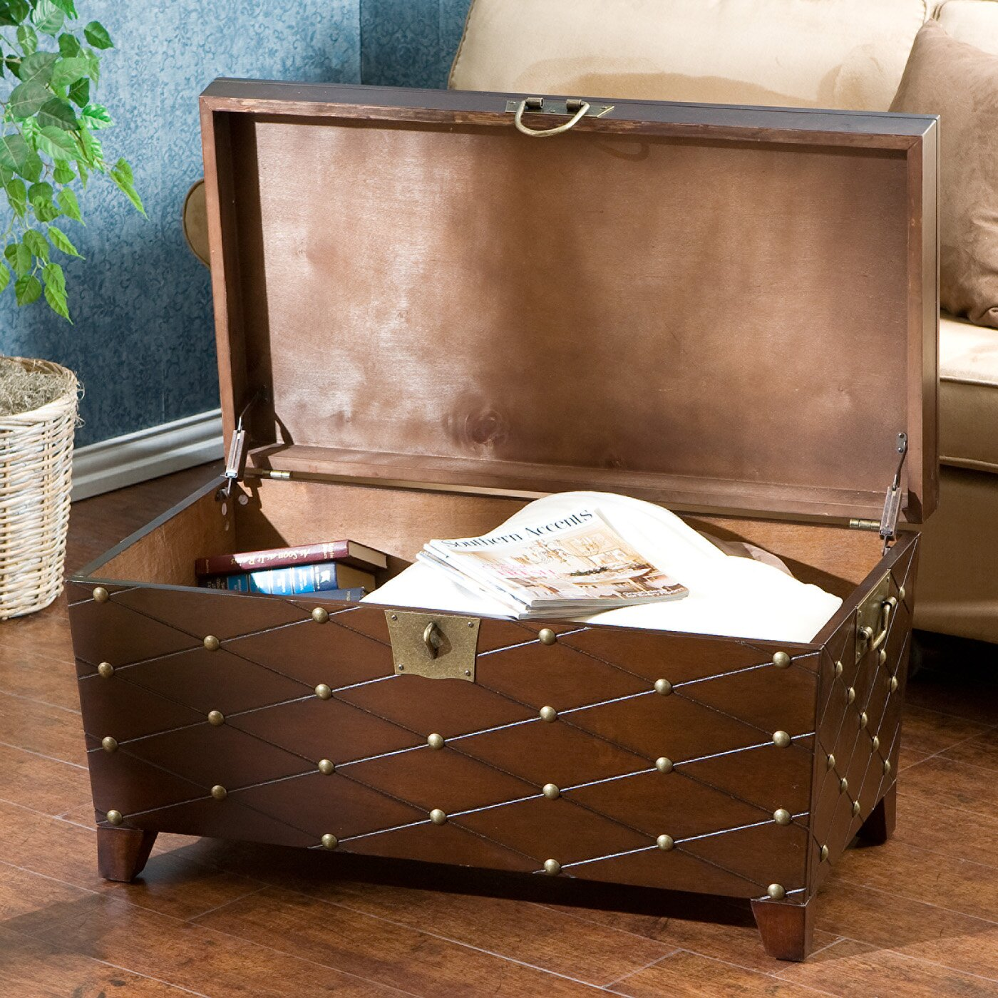 Beige Trunk Coffee Table: Astoria Grand Cainhoe Nailhead Trunk Coffee Table