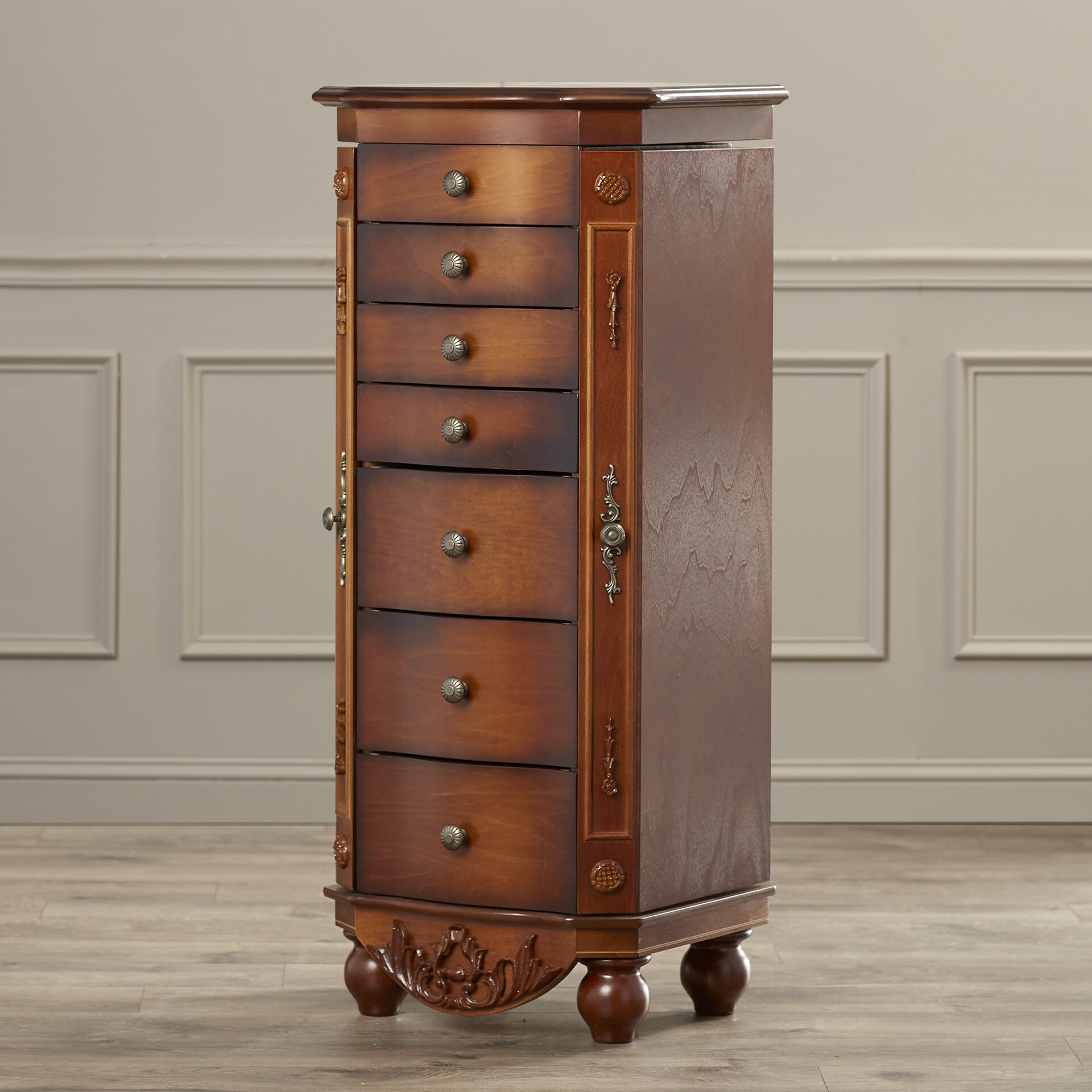 Astoria Grand Coolidge Miriam Jewelry Armoire with Mirror ...