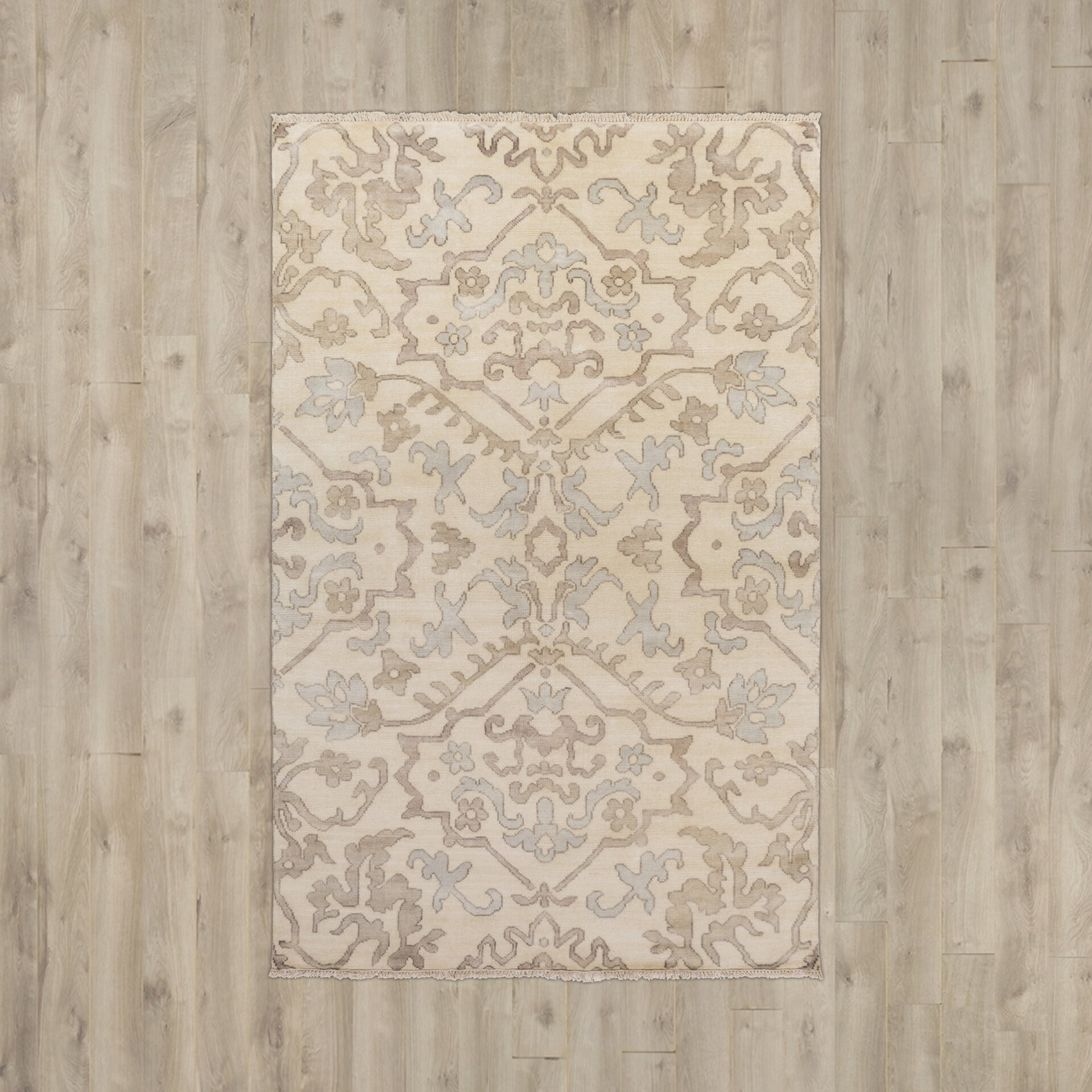 Stella Collection Hand Tufted Area Rug In Beige Light: San Michele Hand-Knotted Light Grey/Beige Area Rug