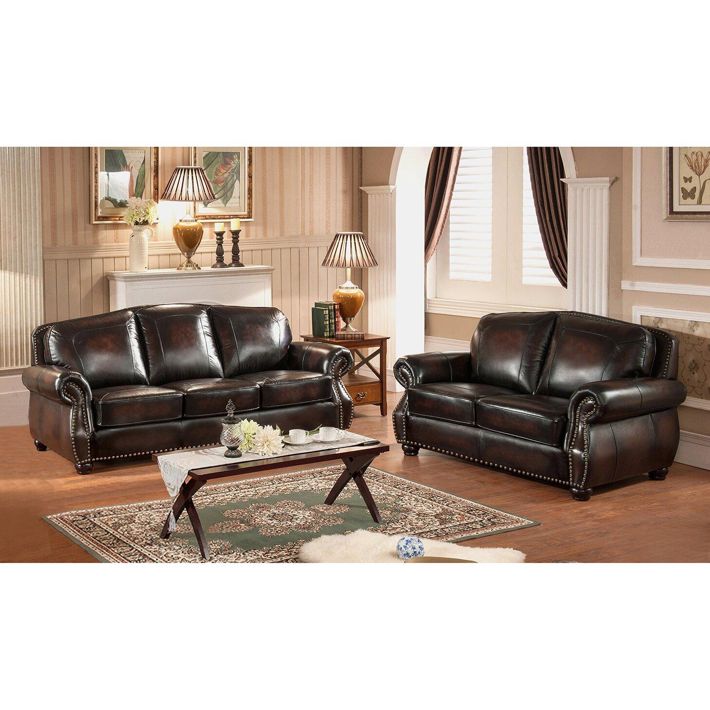 Vail Leather Sofa And Loveseat Set Wayfair