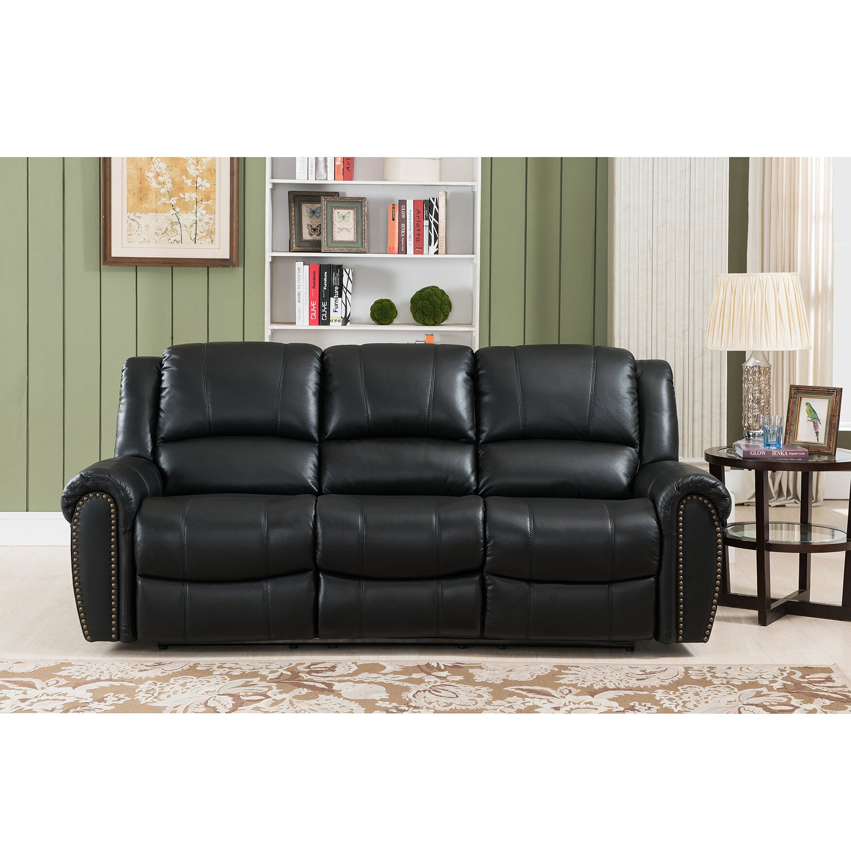 Houston 3 piece leather living room set wayfair for Living room 3 piece sets
