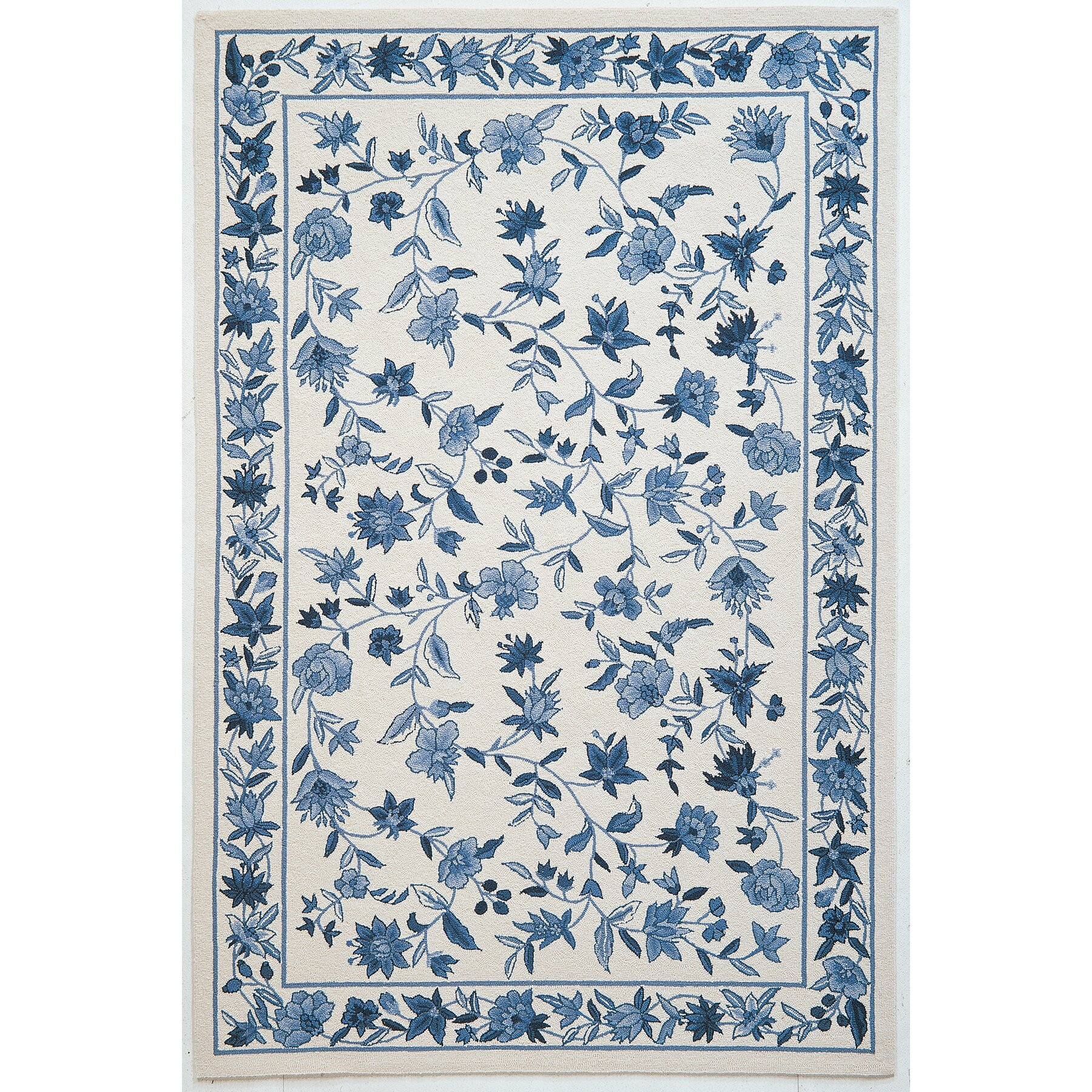 Blue And White Chinese Rugs: KAS Rugs Colonial Ivory/Blue Floral Area Rug & Reviews