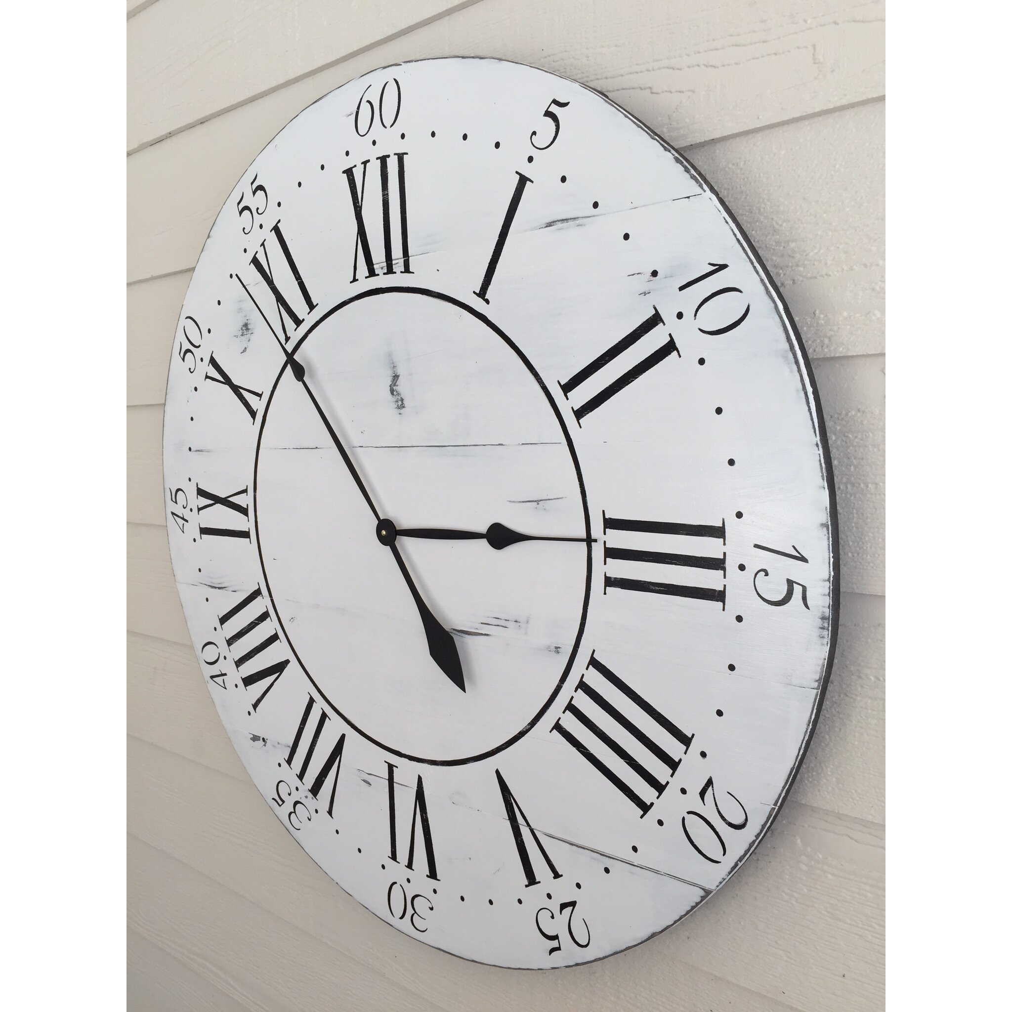 oversized 36 quot chalkwell vintage style painted wood wall clock wayfair