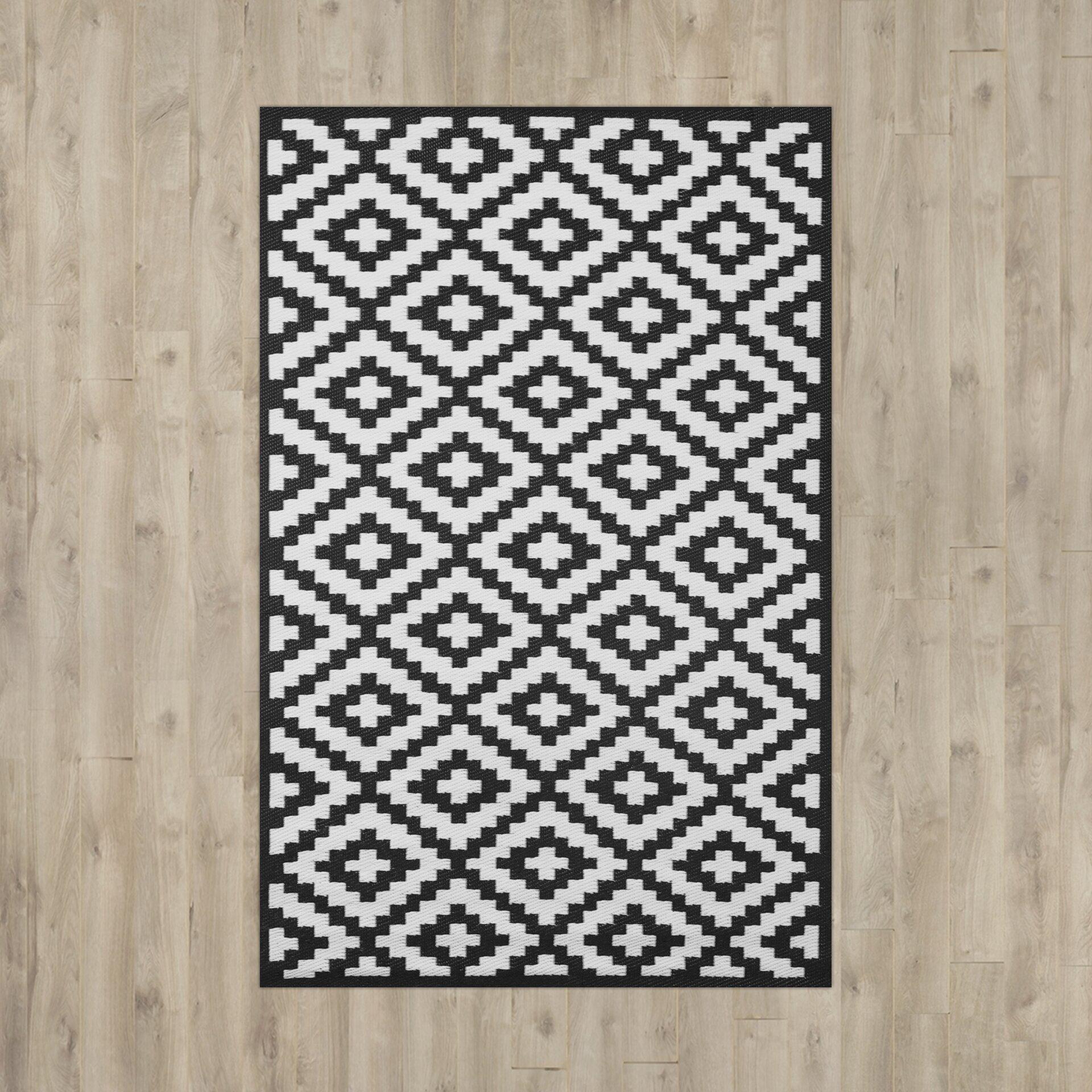 Rylee black indoor outdoor rug wayfair uk for Indoor outdoor rugs uk