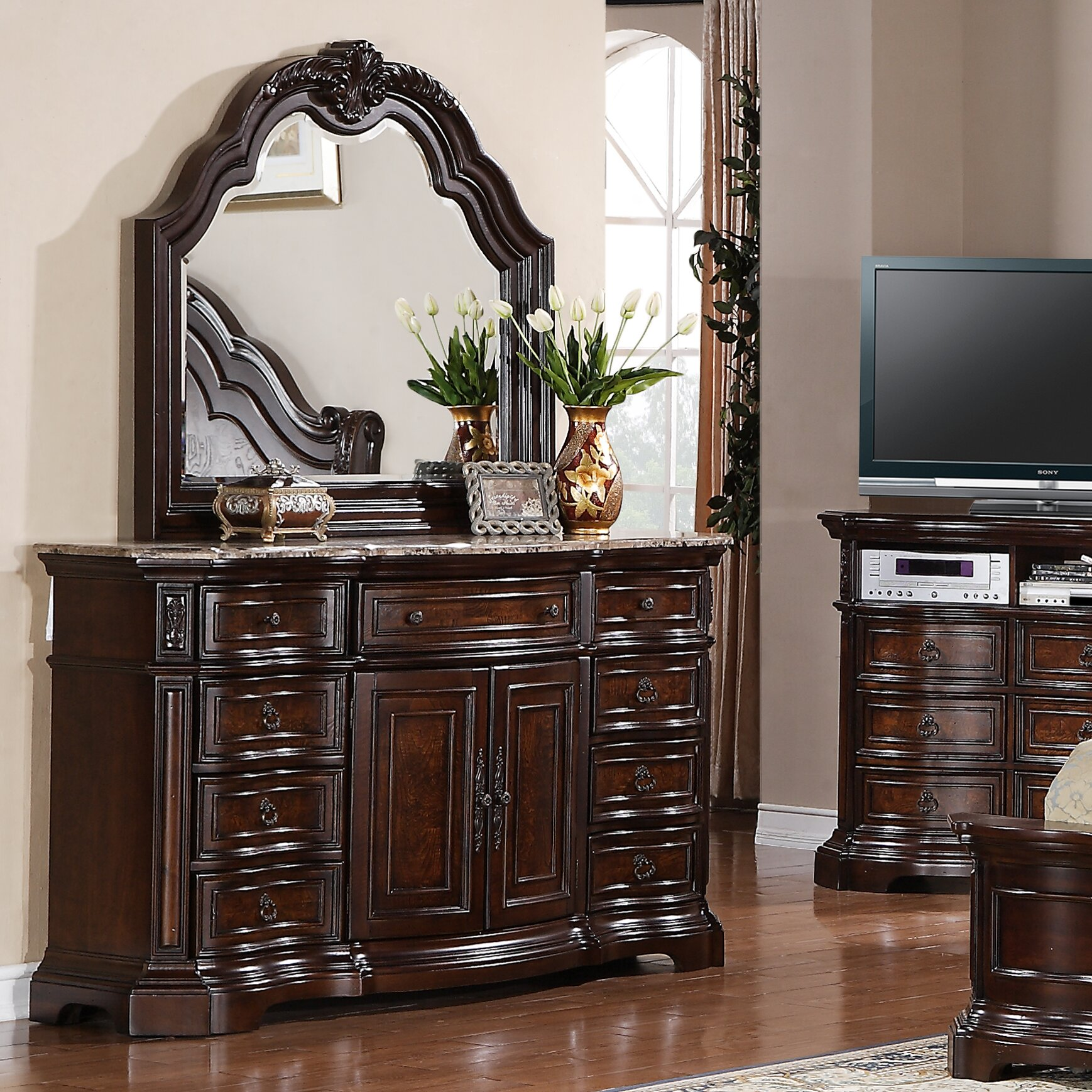 Edington 9 Drawer Combo Dresser With Mirror Wayfair