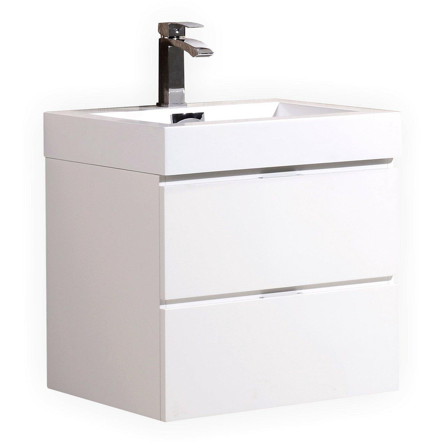 kube bath bliss 24 single wall mount modern bathroom vanity set