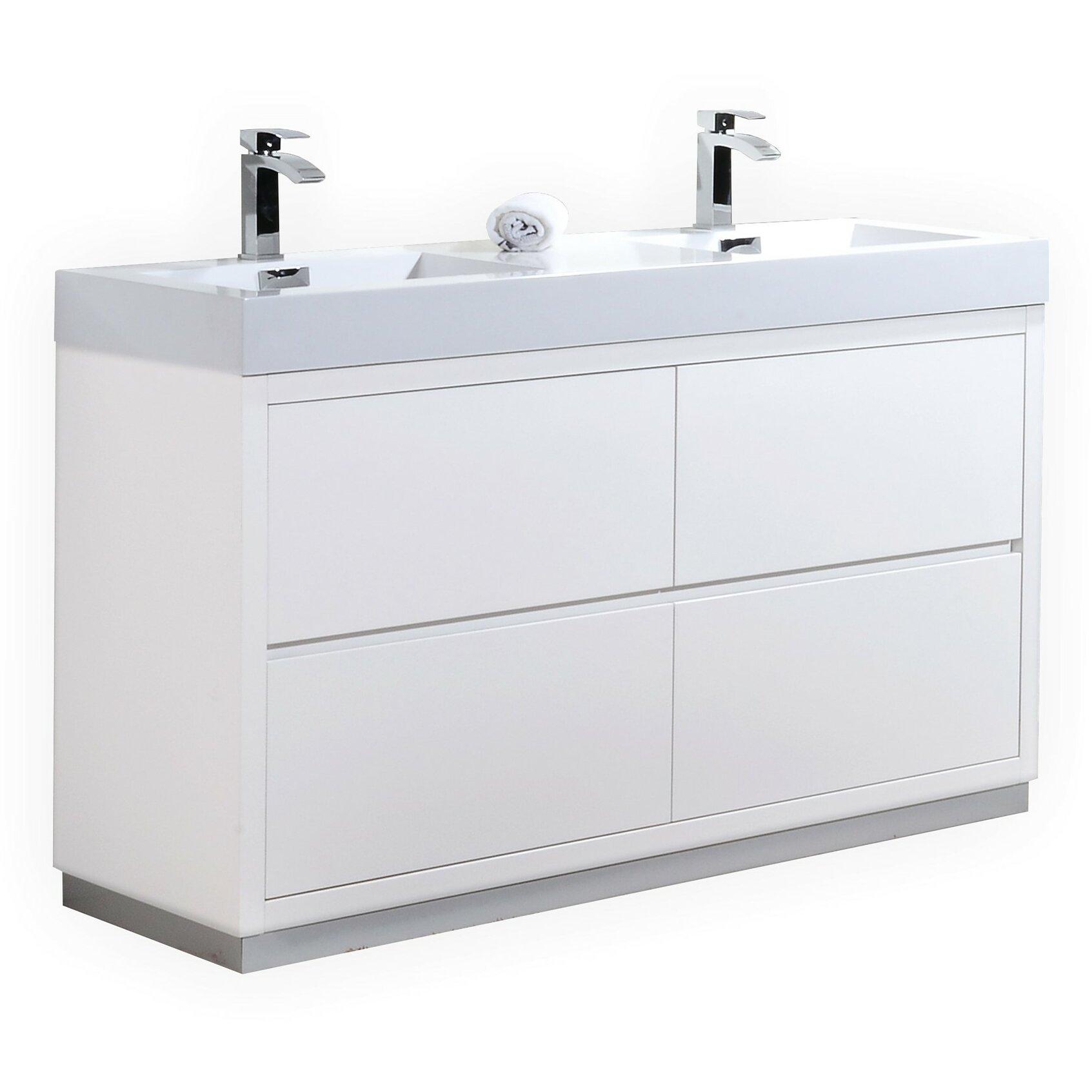 Bliss 60 double free standing modern bathroom vanity set wayfair for Free standing bathroom vanities