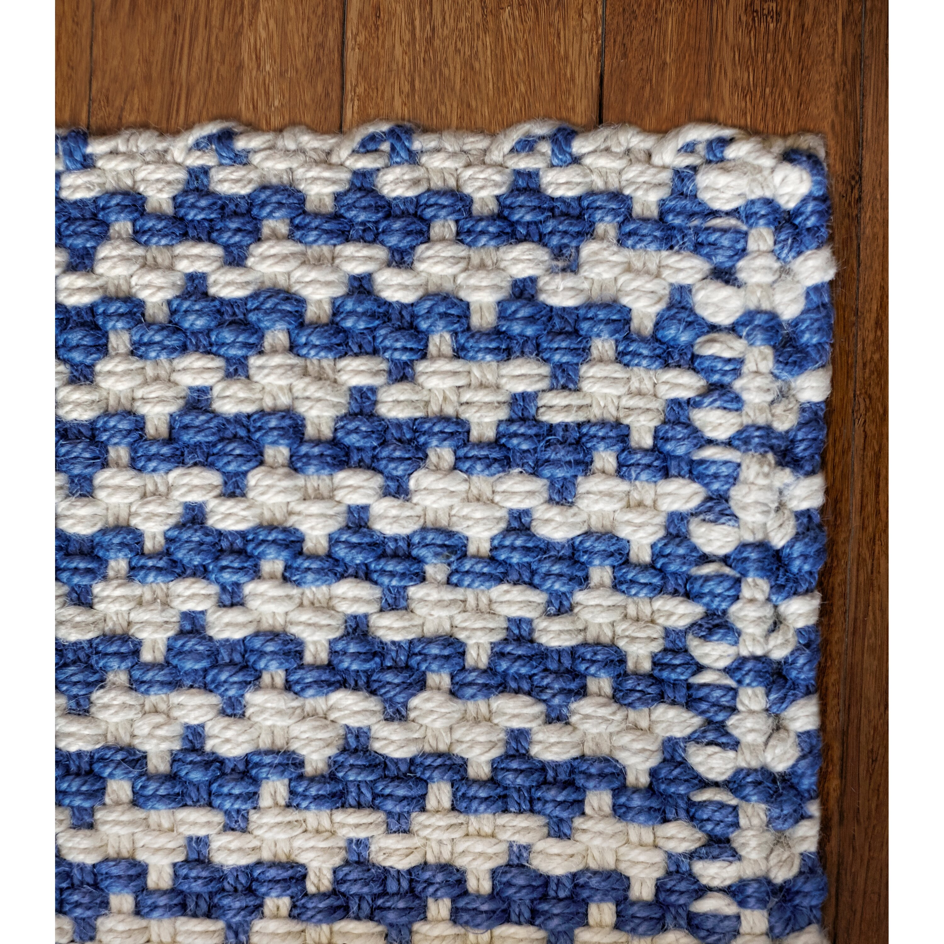 The Conestoga Trading Co Hillsboro Hand Woven White Blue