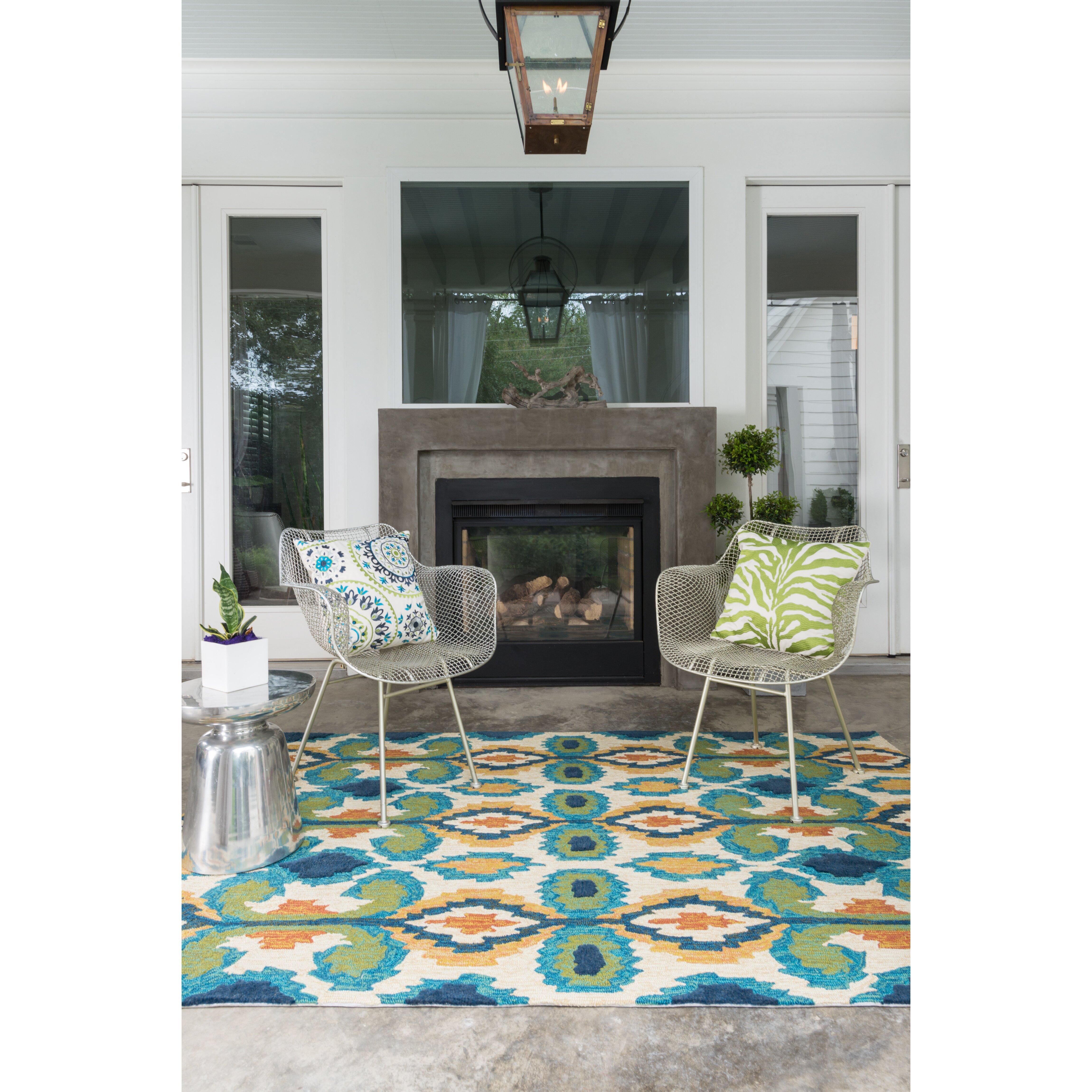 Hand woven ivory blue indoor outdoor area rug wayfair for Landscape indoor area rug