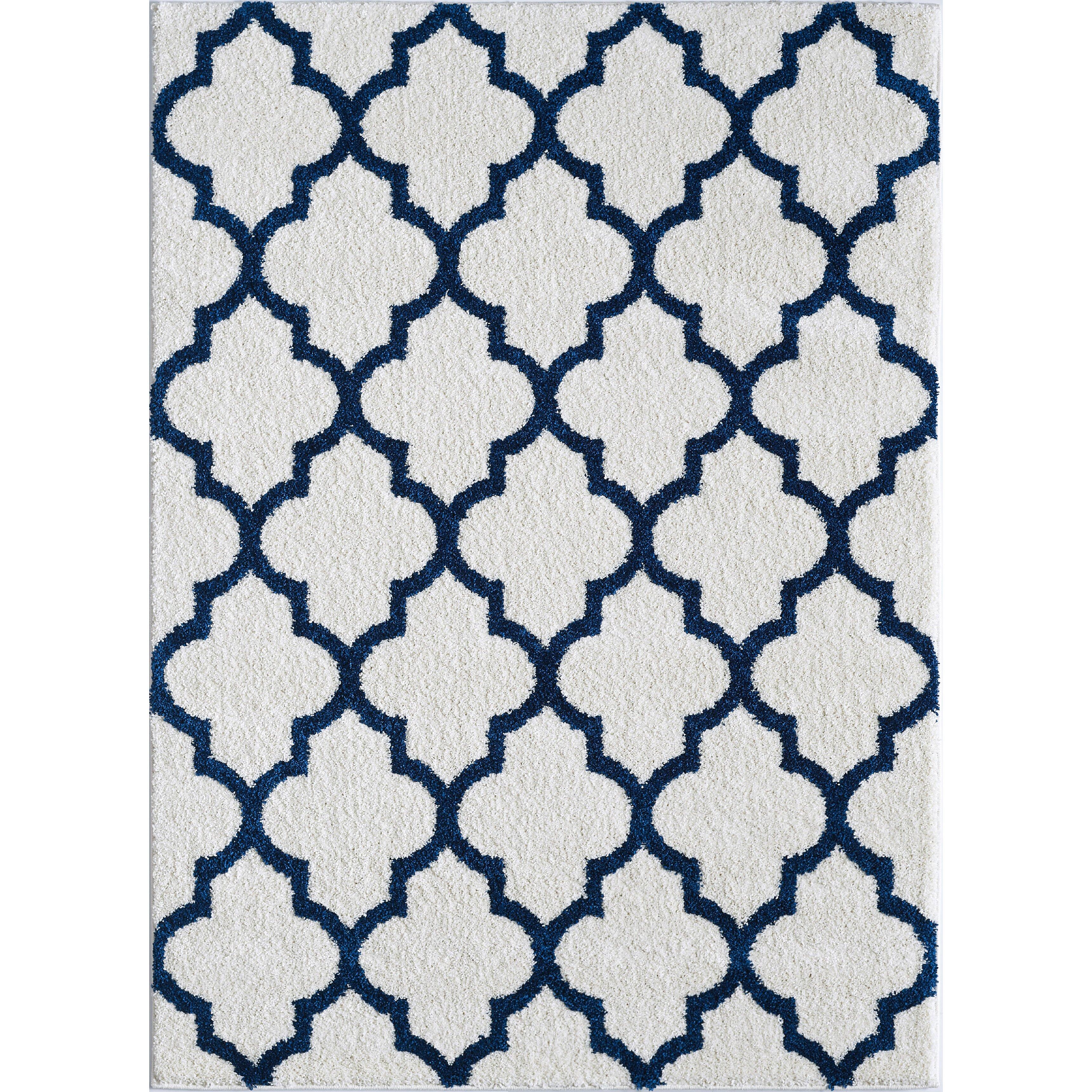 wembley white navy area rug wayfair. Black Bedroom Furniture Sets. Home Design Ideas