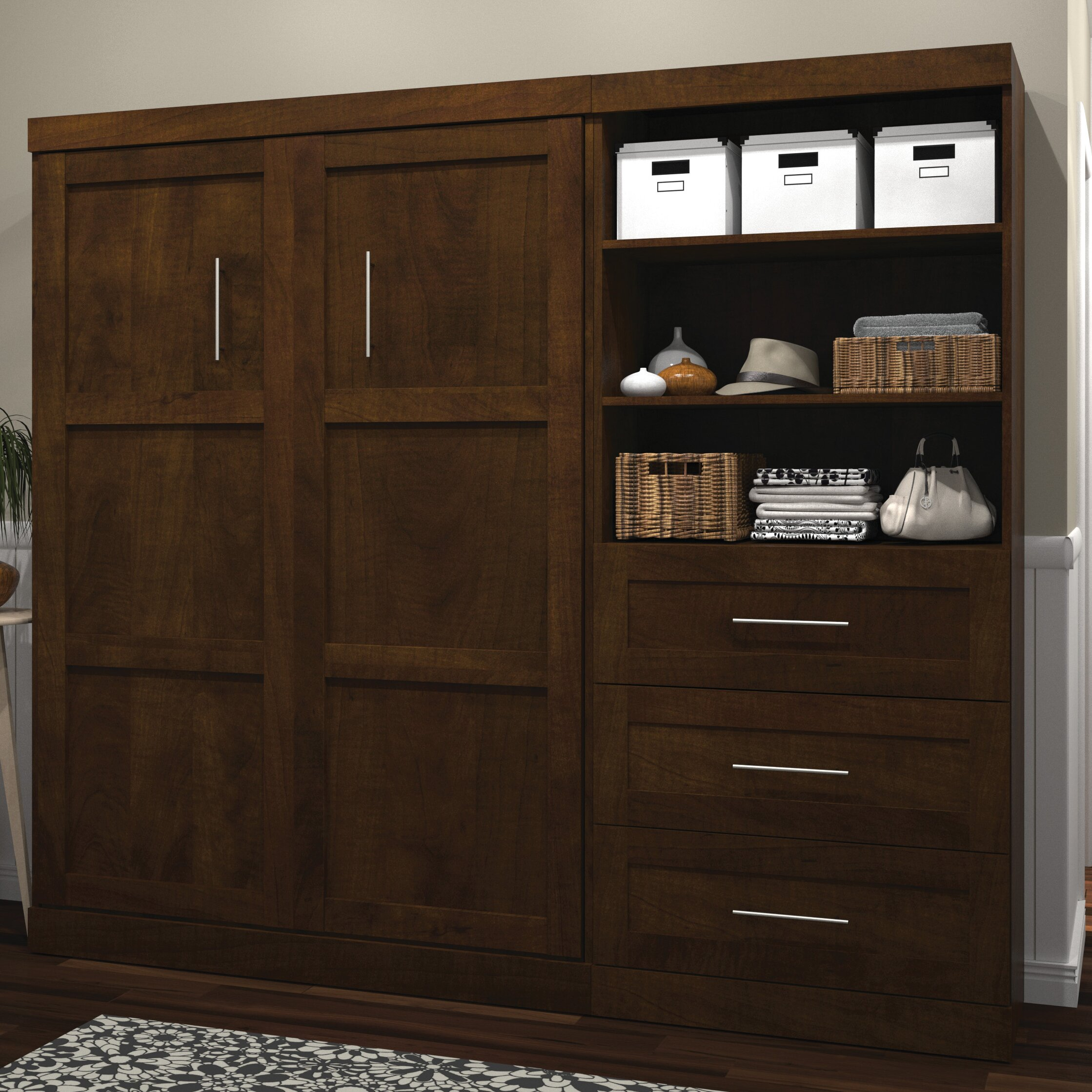 latitude run wynyard full double murphy bed reviews. Black Bedroom Furniture Sets. Home Design Ideas