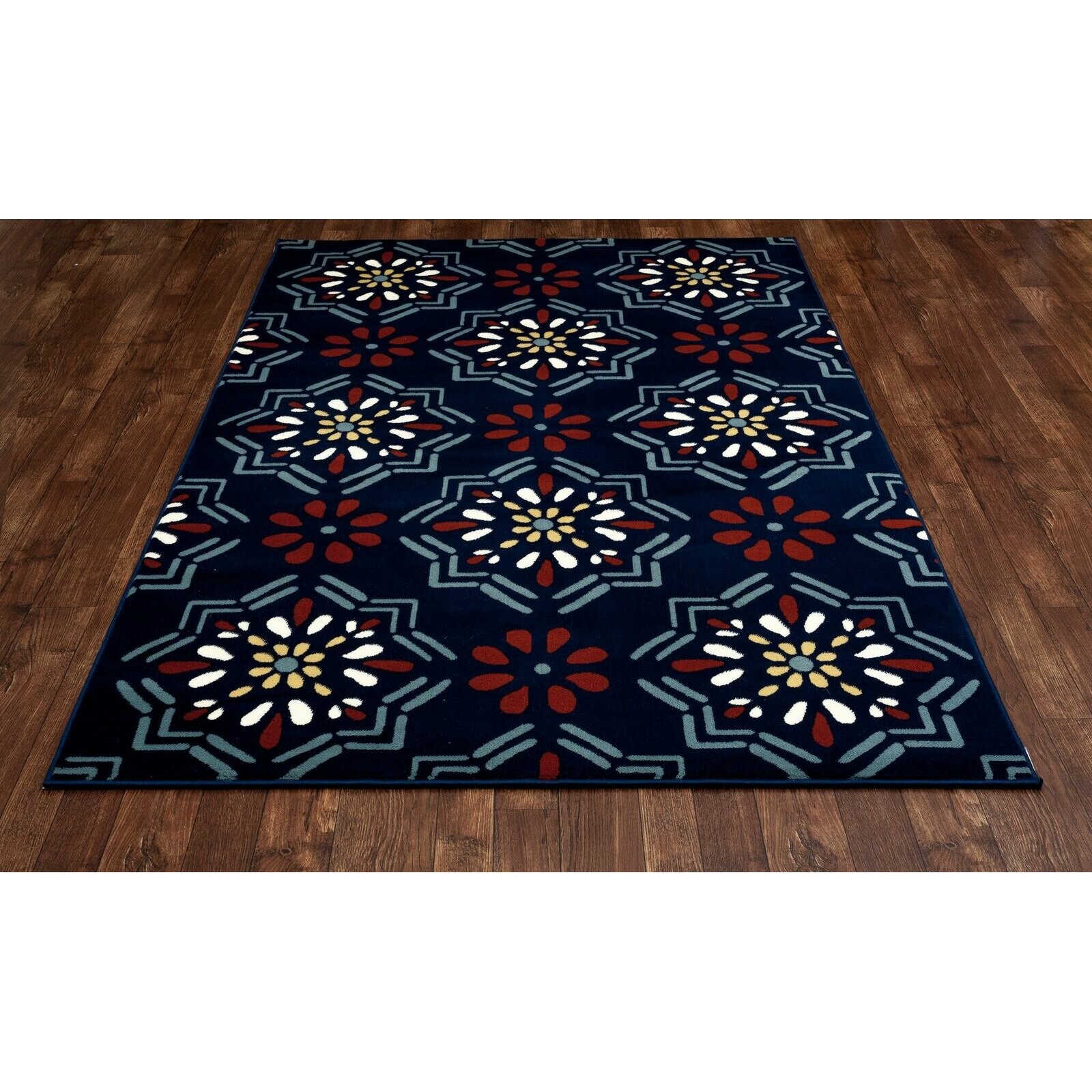 northville dark blue orange indoor outdoor area rug wayfair. Black Bedroom Furniture Sets. Home Design Ideas