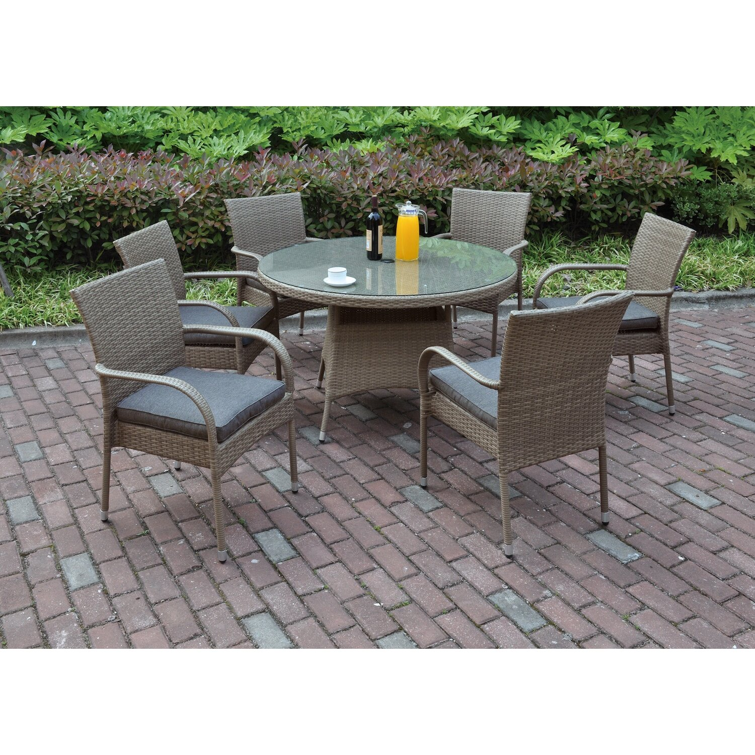 jb patio 7 piece dining set with cushions allmodern