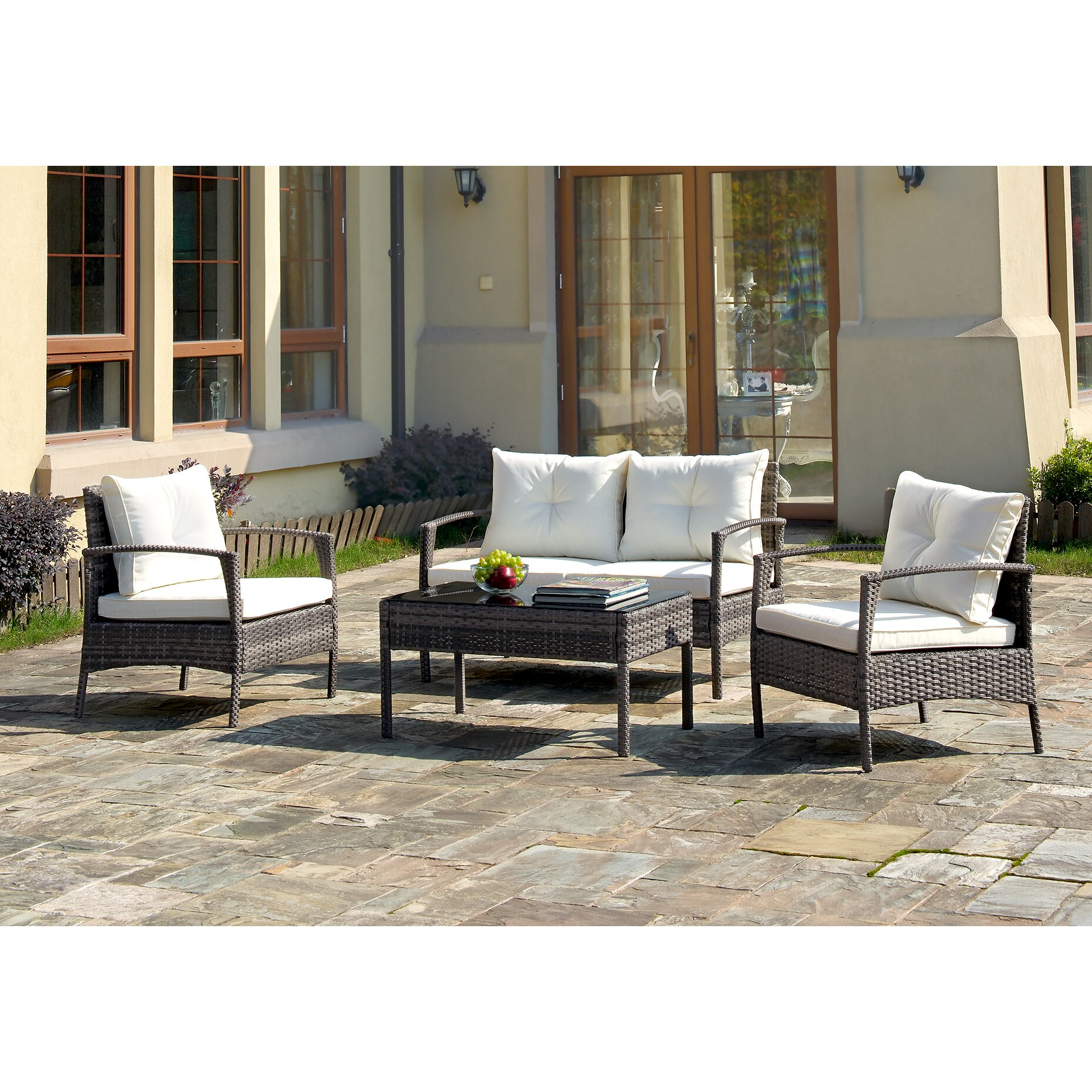 A J Homes Studio 4 Piece Lounge Seating Group With Cushions Reviews Wayfair
