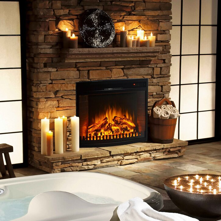 Curved Ventless Electric Fireplace Insert Wayfair