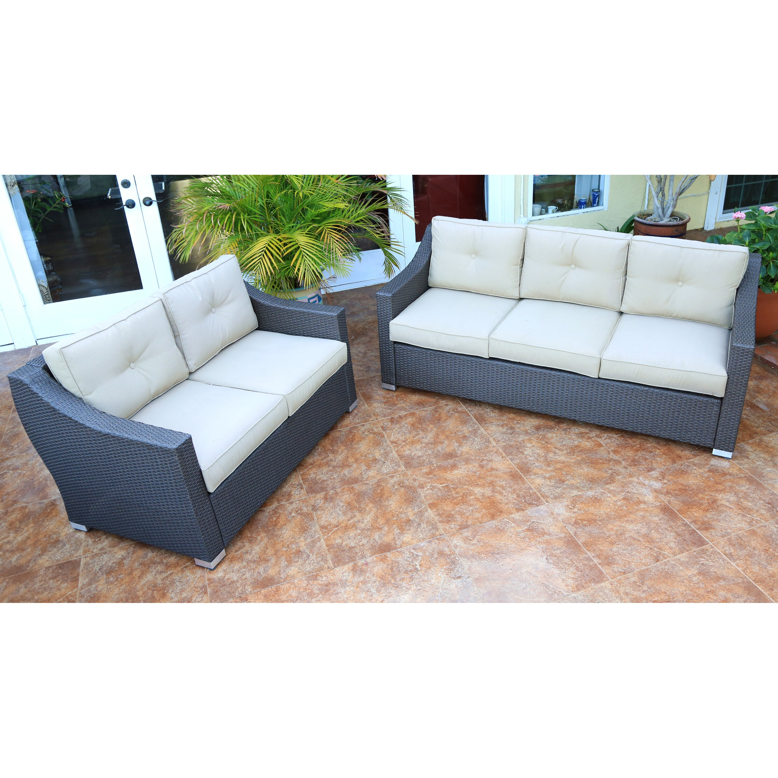 Tampa 2 Piece Patio Sofa Group with Cushion DS JJWK