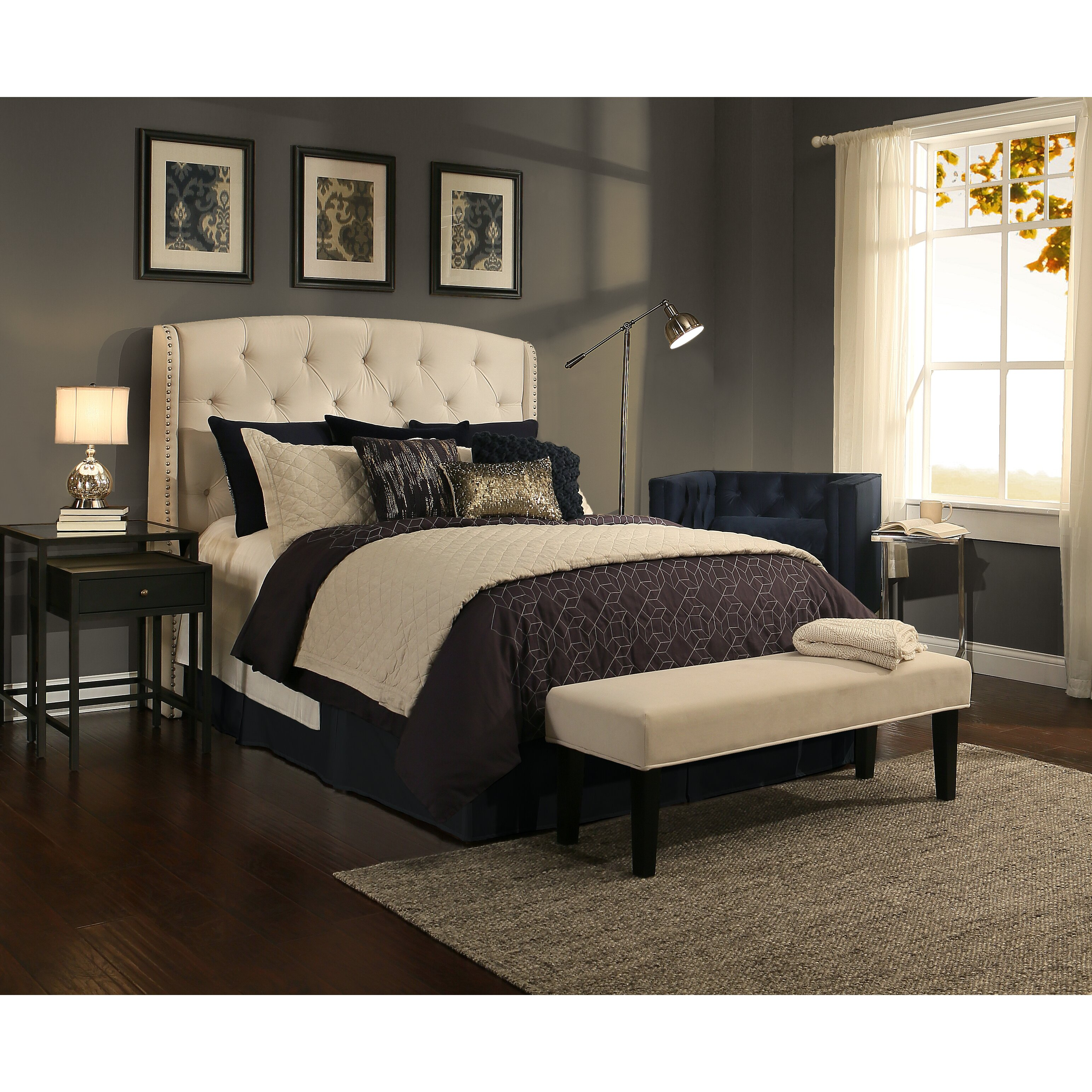 peyton upholstered headboard and bedroom bench