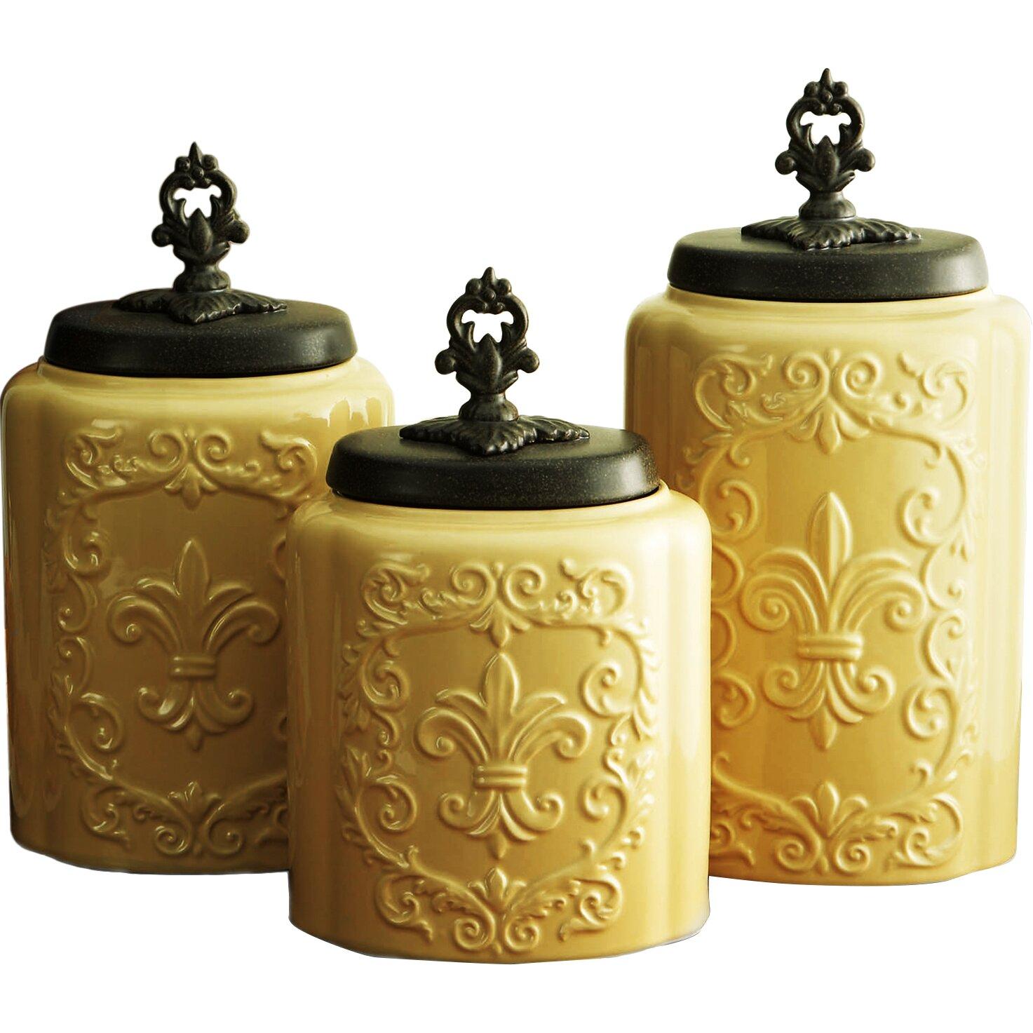 28 3 piece kitchen canister set vonshef 3 piece kitchen 3 piece kitchen canister set design guild 3 piece canister set amp reviews wayfair