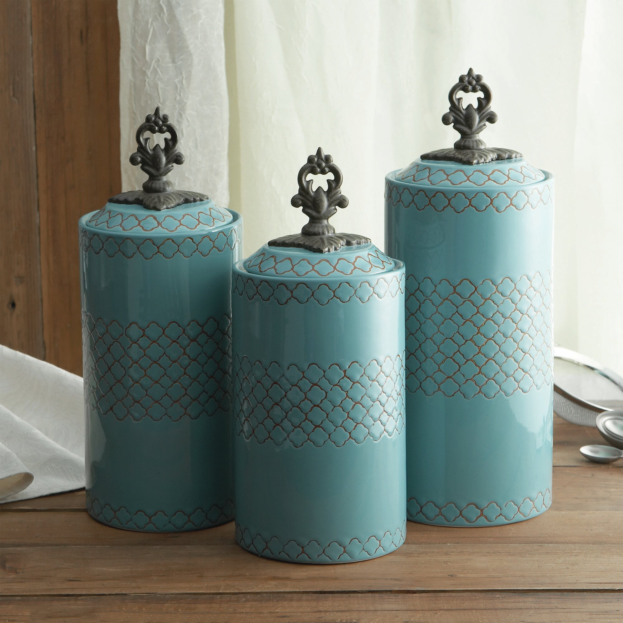 Canisters Kitchen: Design Guild 3 Piece Canister & Lid Set & Reviews