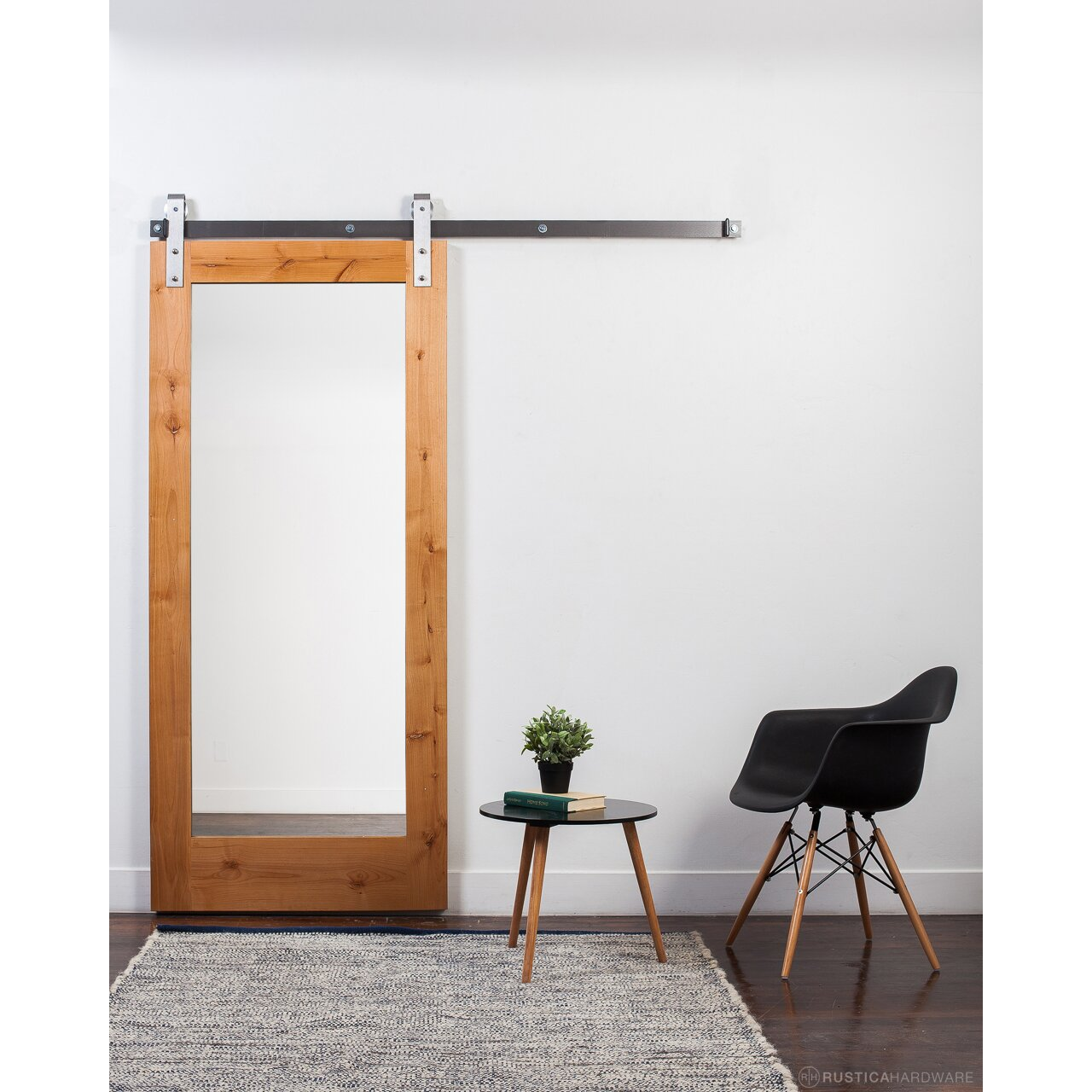 1280 #9B6130 Wood And Mirror 1 Panel Clear Coated Sliding Barn Interior Door By  image Interior Doors With Mirrors 11631280