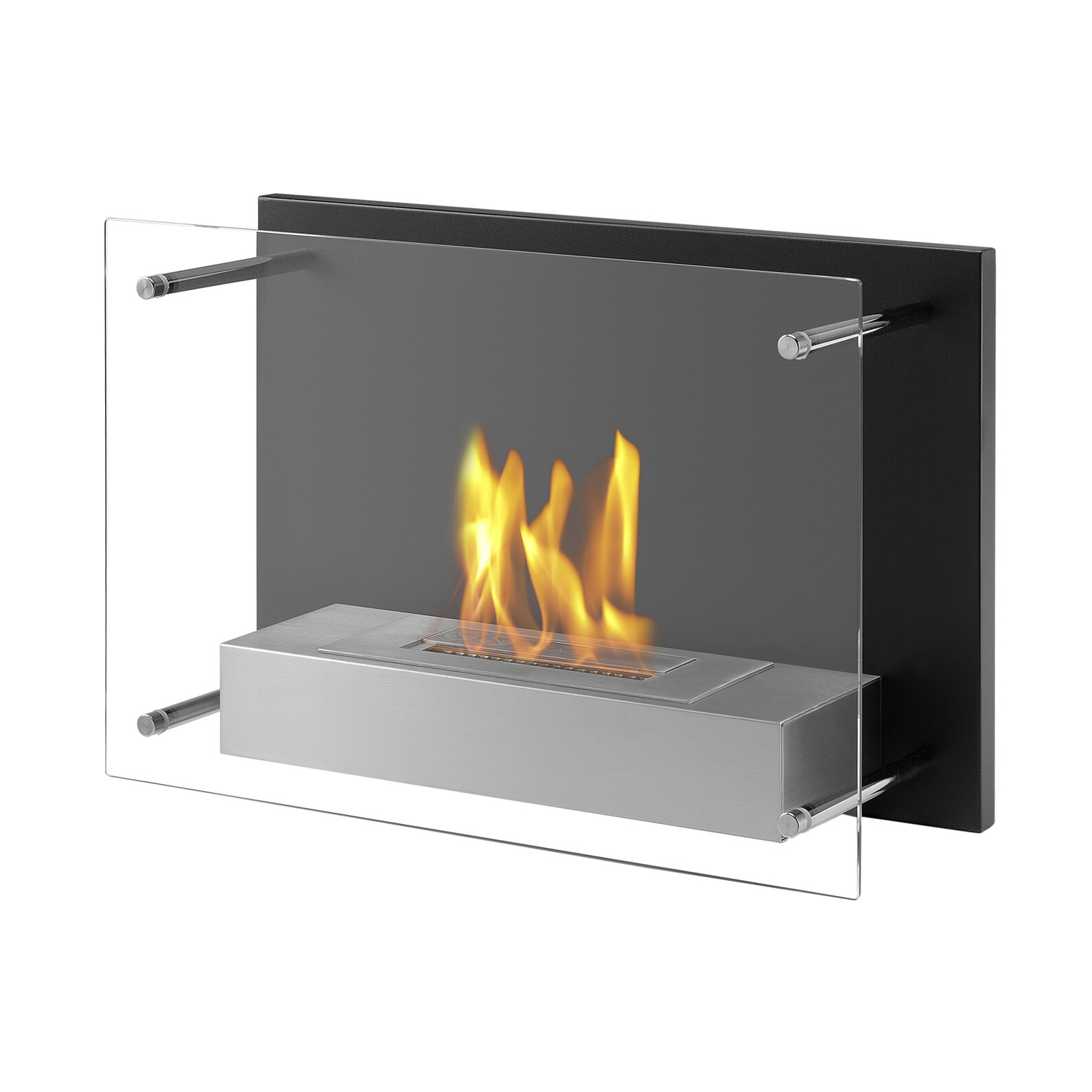 wall mounted fireplace ethanol moda flame hudson recessed wall