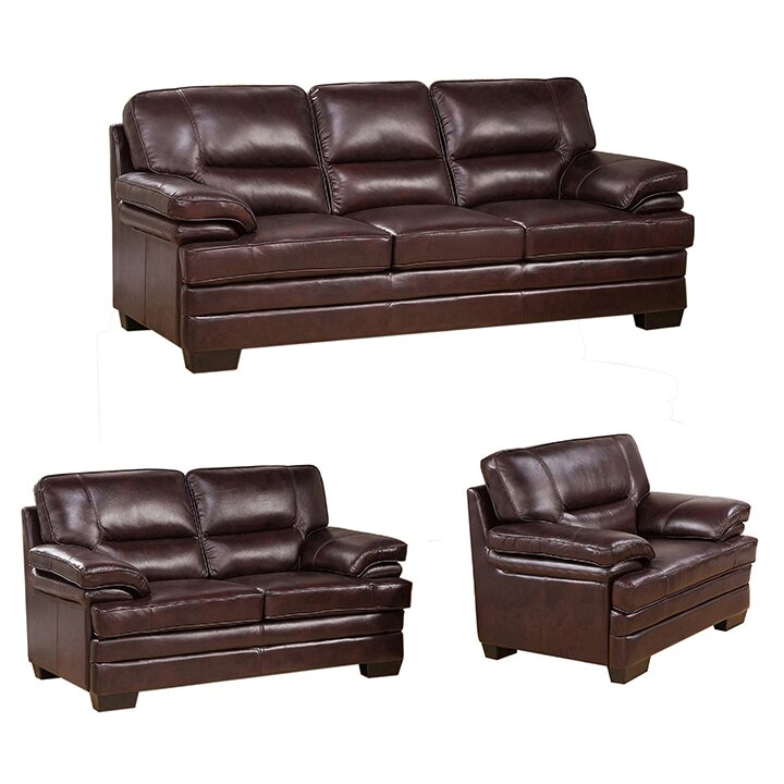 san paolo top grain leather sofa loveseat and chair set wayfair. Black Bedroom Furniture Sets. Home Design Ideas