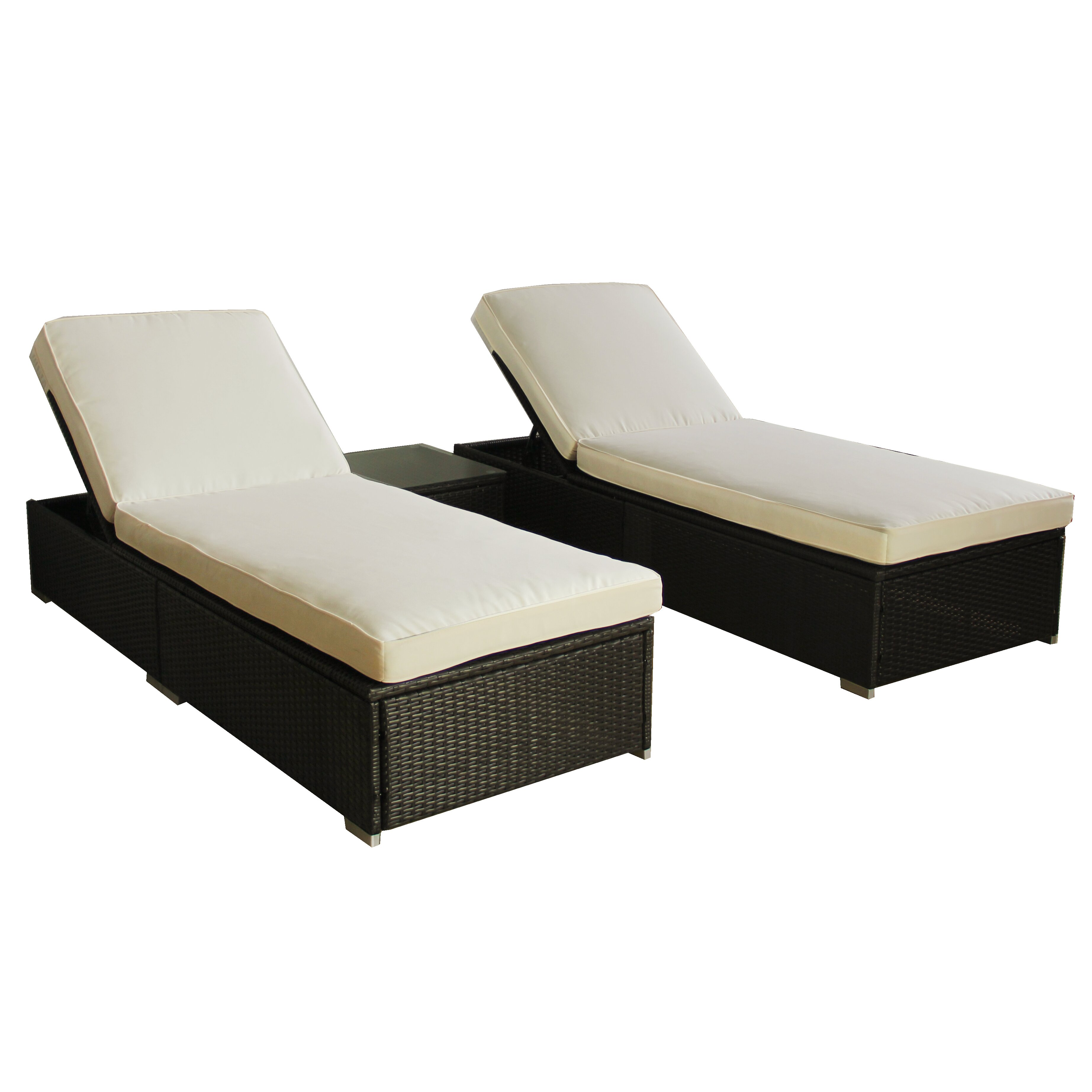 3 piece chaise lounge set with cushion wayfair for Chaise 3 pieds