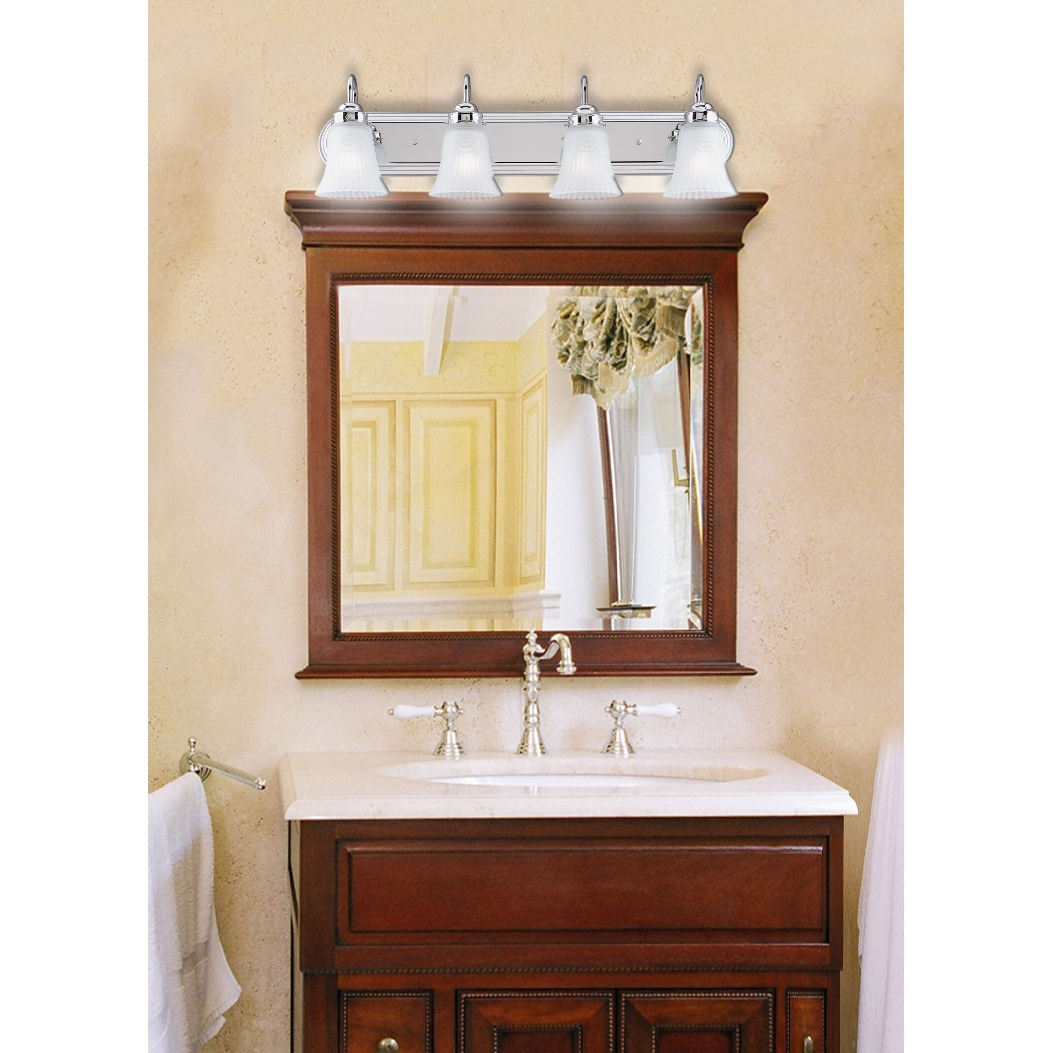 4 light bathroom vanity light wayfair for Bathroom vanity fixtures