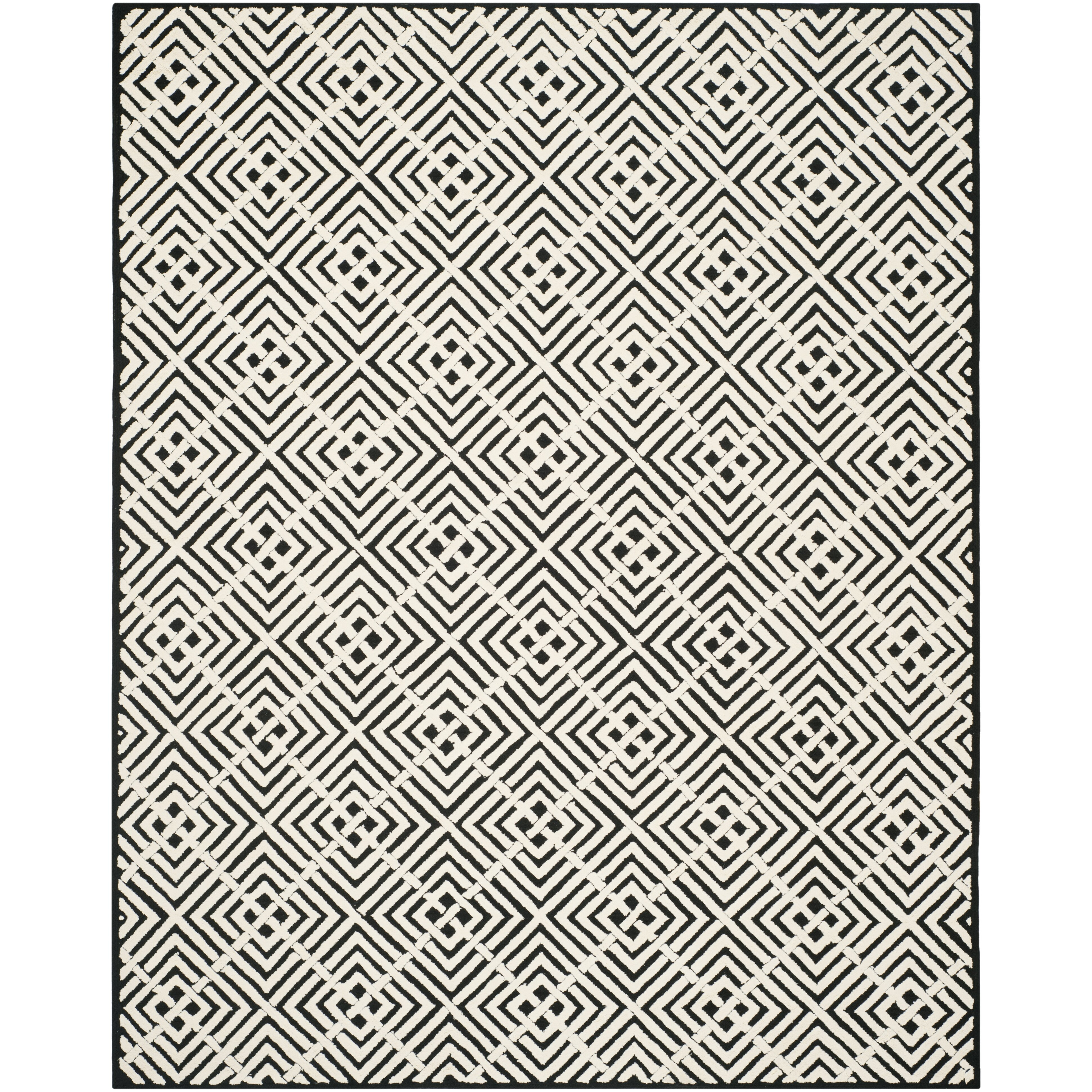 Black And White Geometric Rugs For Sale: Safavieh Newport Black/White Geometric Area Rug & Reviews