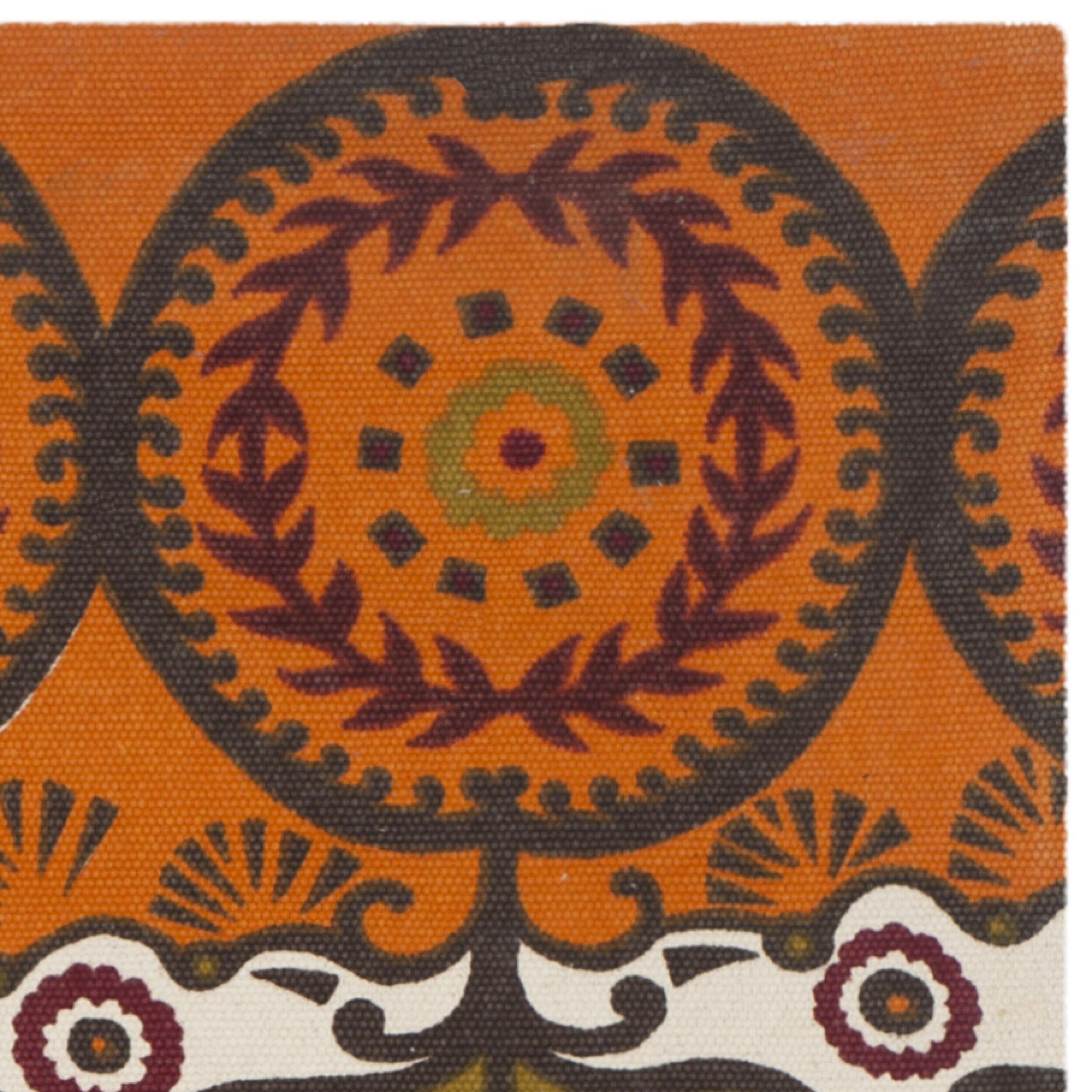 Modern Rug Orange: Safavieh Cedar Brook Orange & Red Contemporary Area Rug