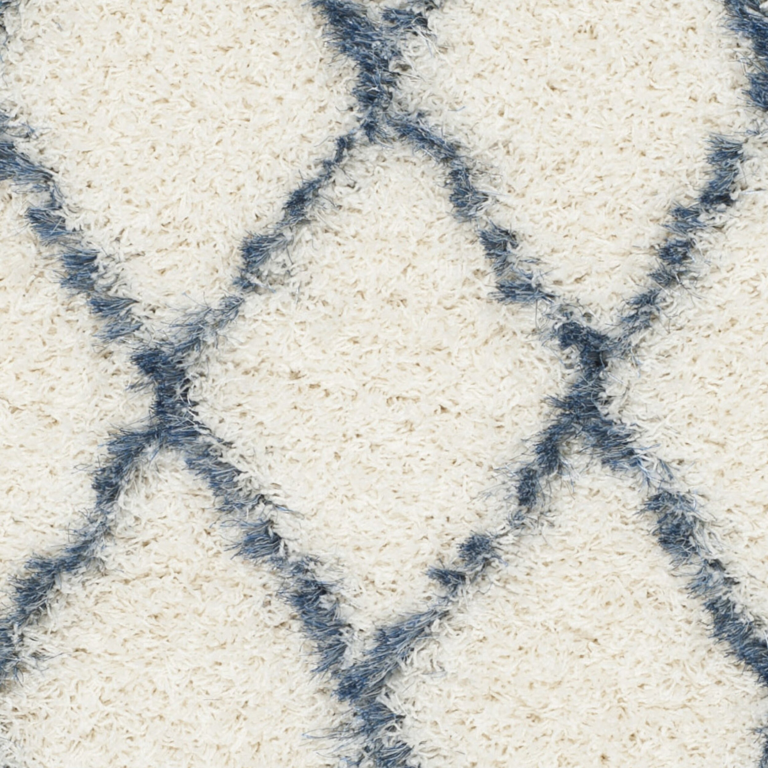 Safavieh Moroccan Blue And Black Area Rug: Moroccan Shag Ivory & Blue Geometric Contemporary Area Rug